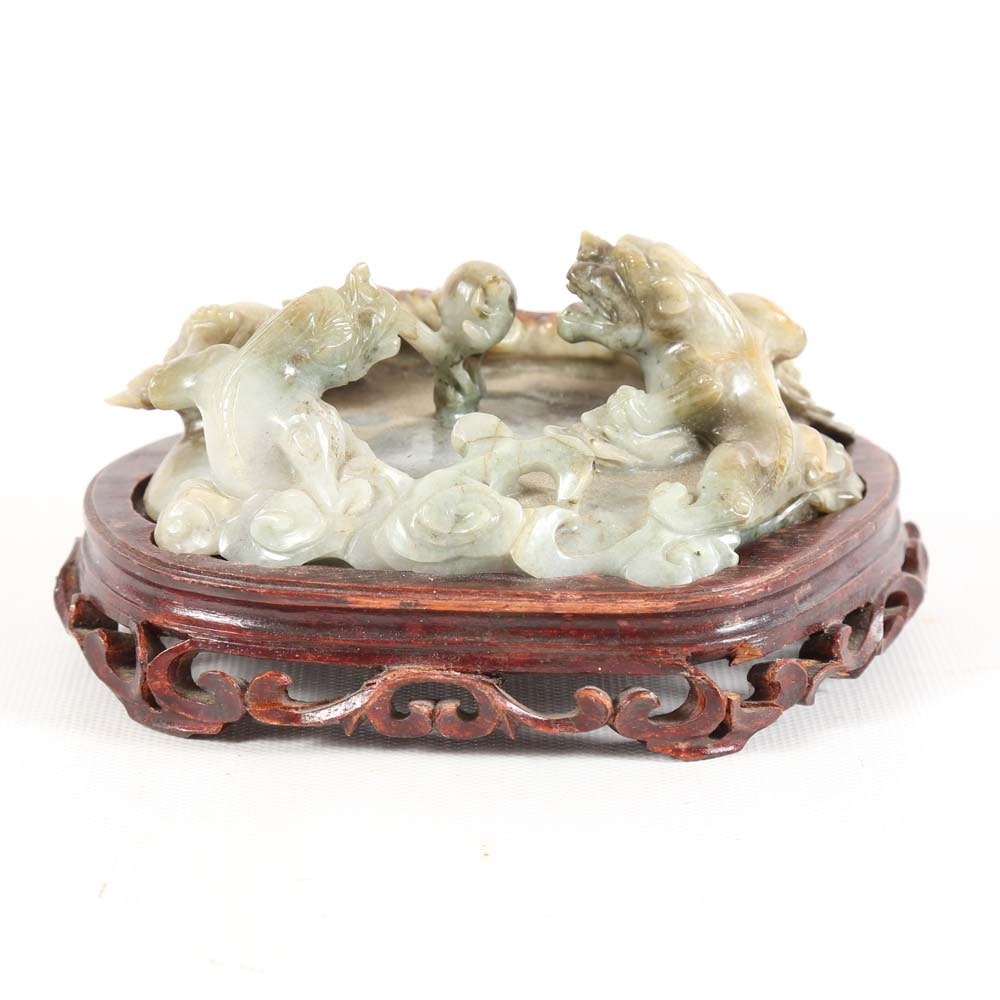 Chinese Chalcedony Dragon Sculpture