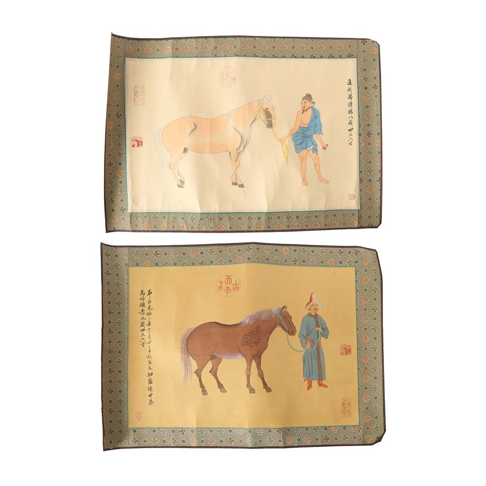 Pair of Chinese Paintings on Silk