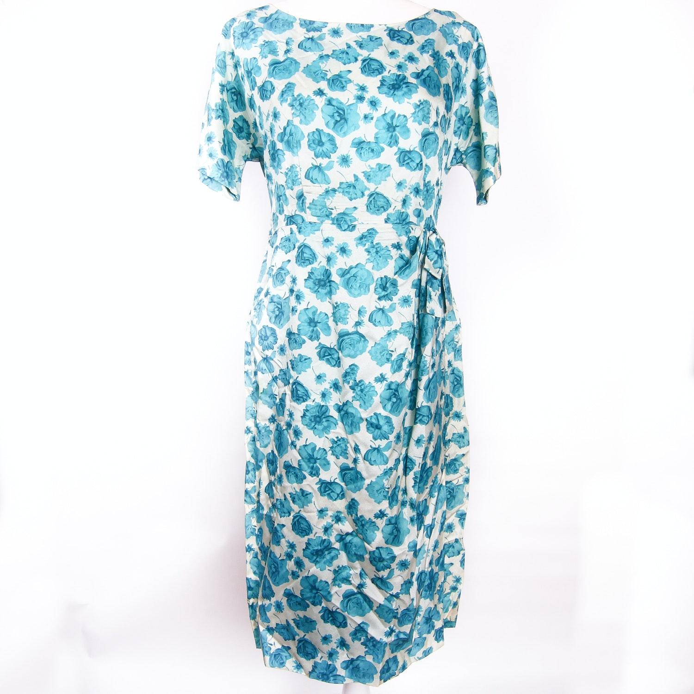 Vintage Blue Floral Dress