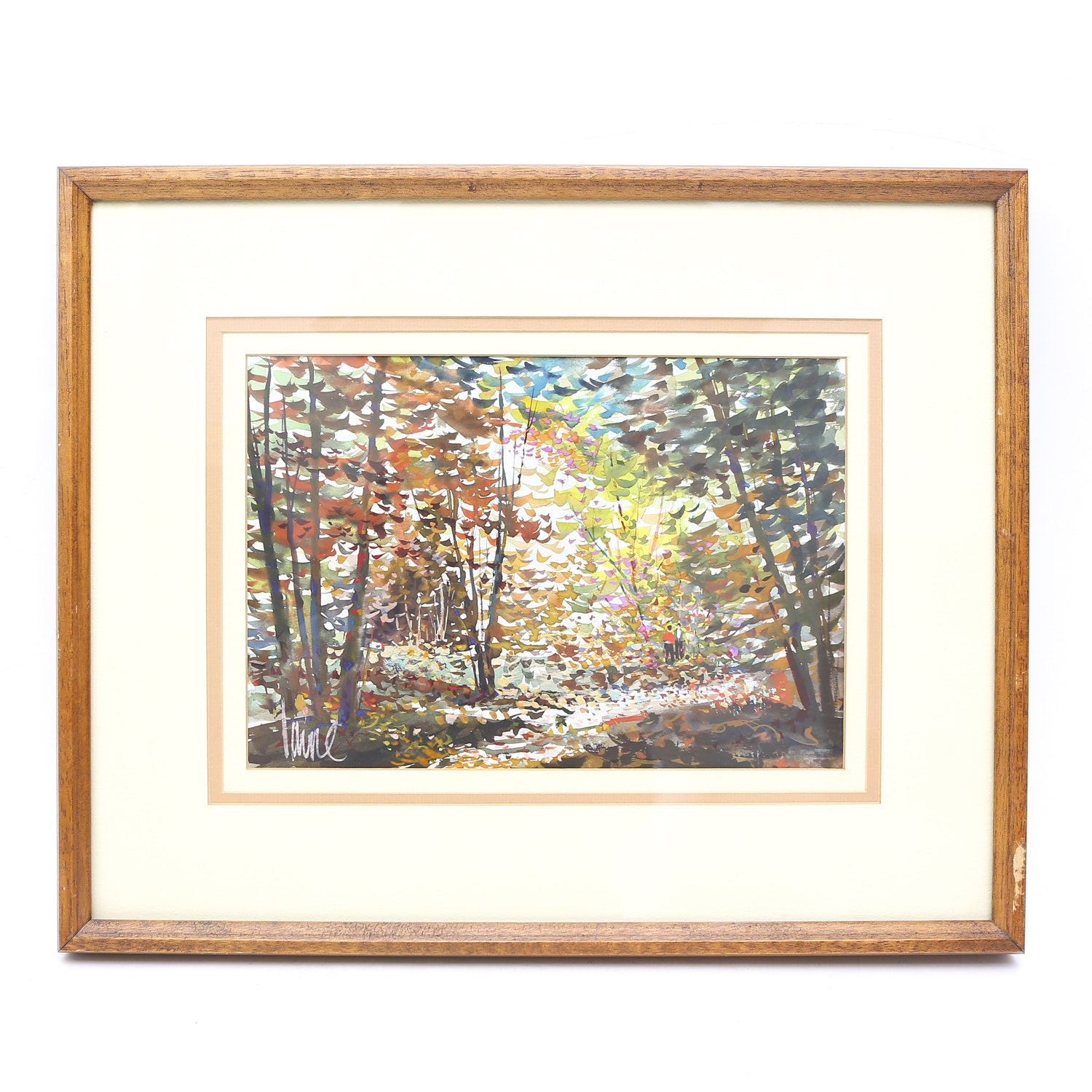 Original Forest Gouache Watercolor Painting by Laine