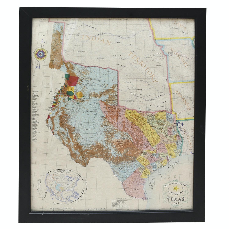 Vintage Texas Republic Map