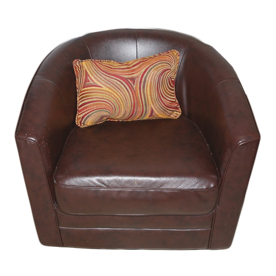 Contemporary Barrel-Back Leather Club Chair