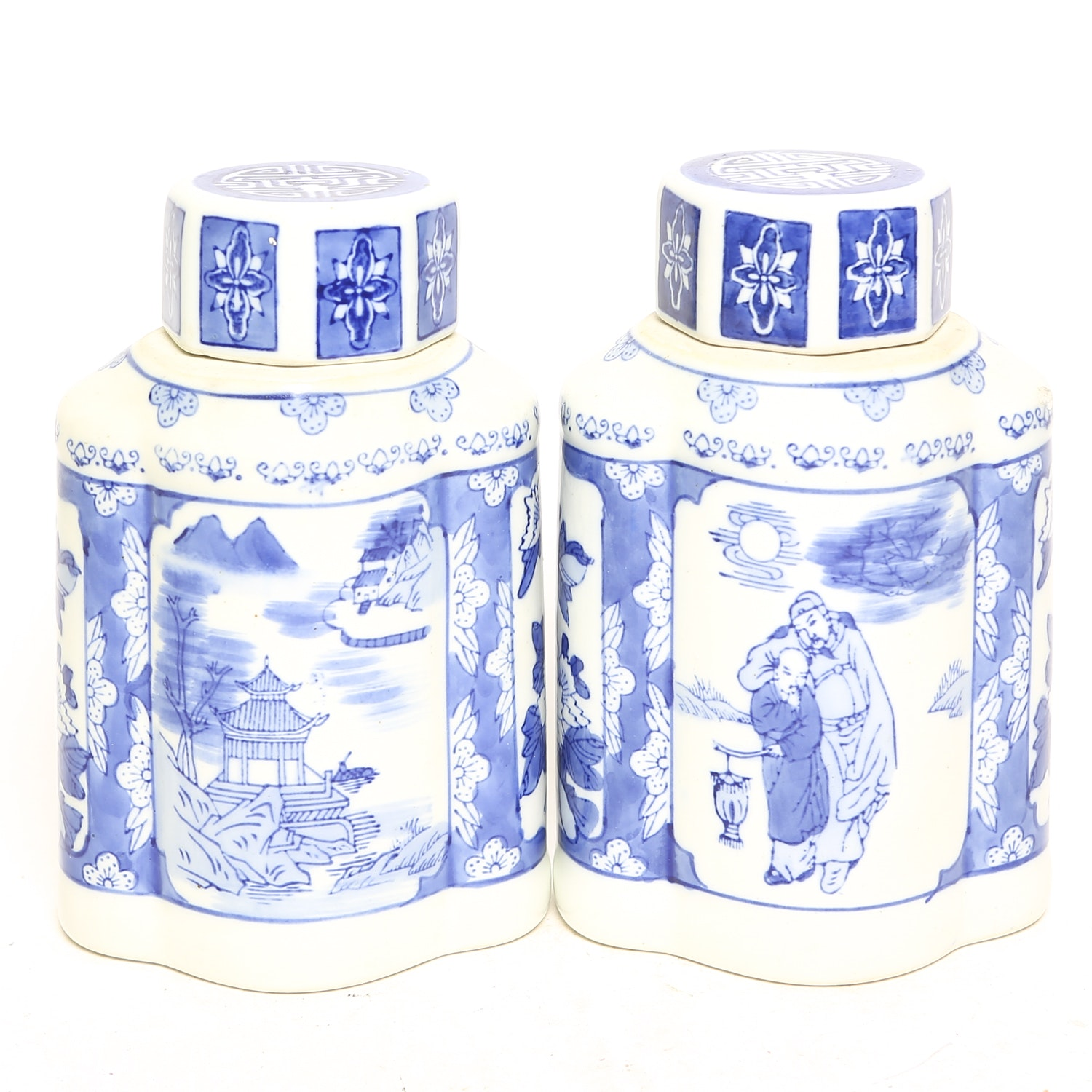 Pair of Blue and White Chinese Lidded Vases