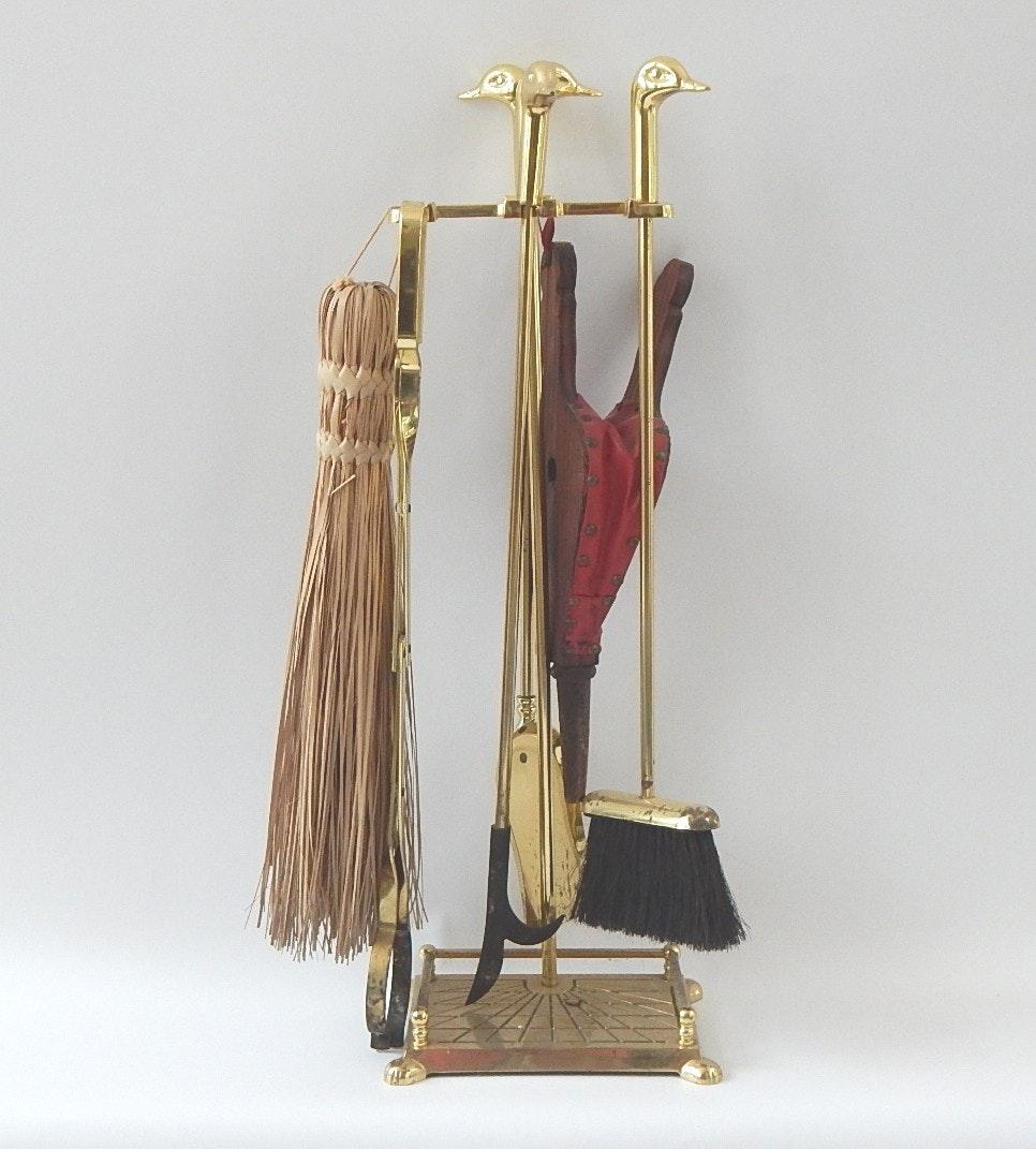 Brass Duck Head Fireplace Tool Set