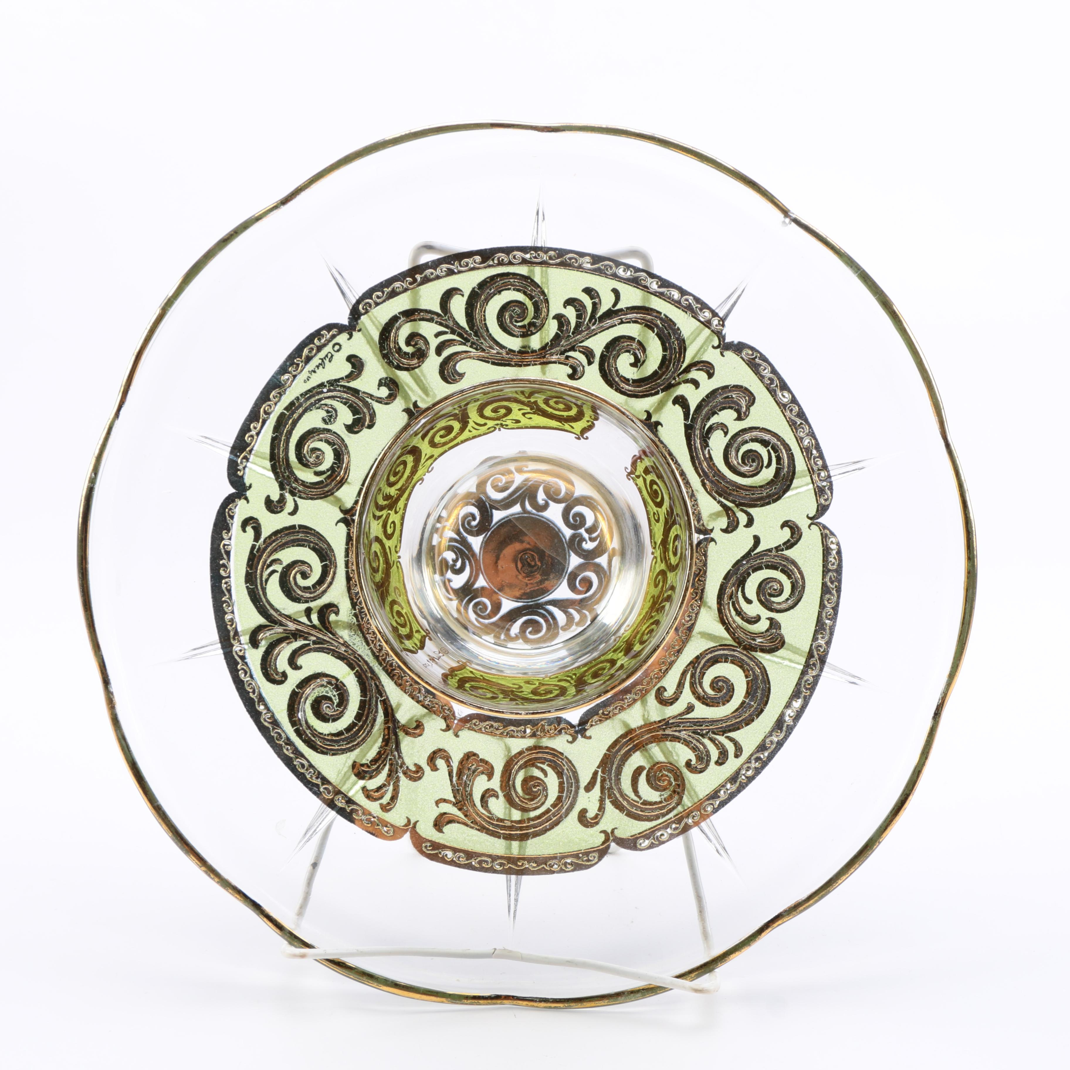 Mid Century Culver Glass Appetizer Tray