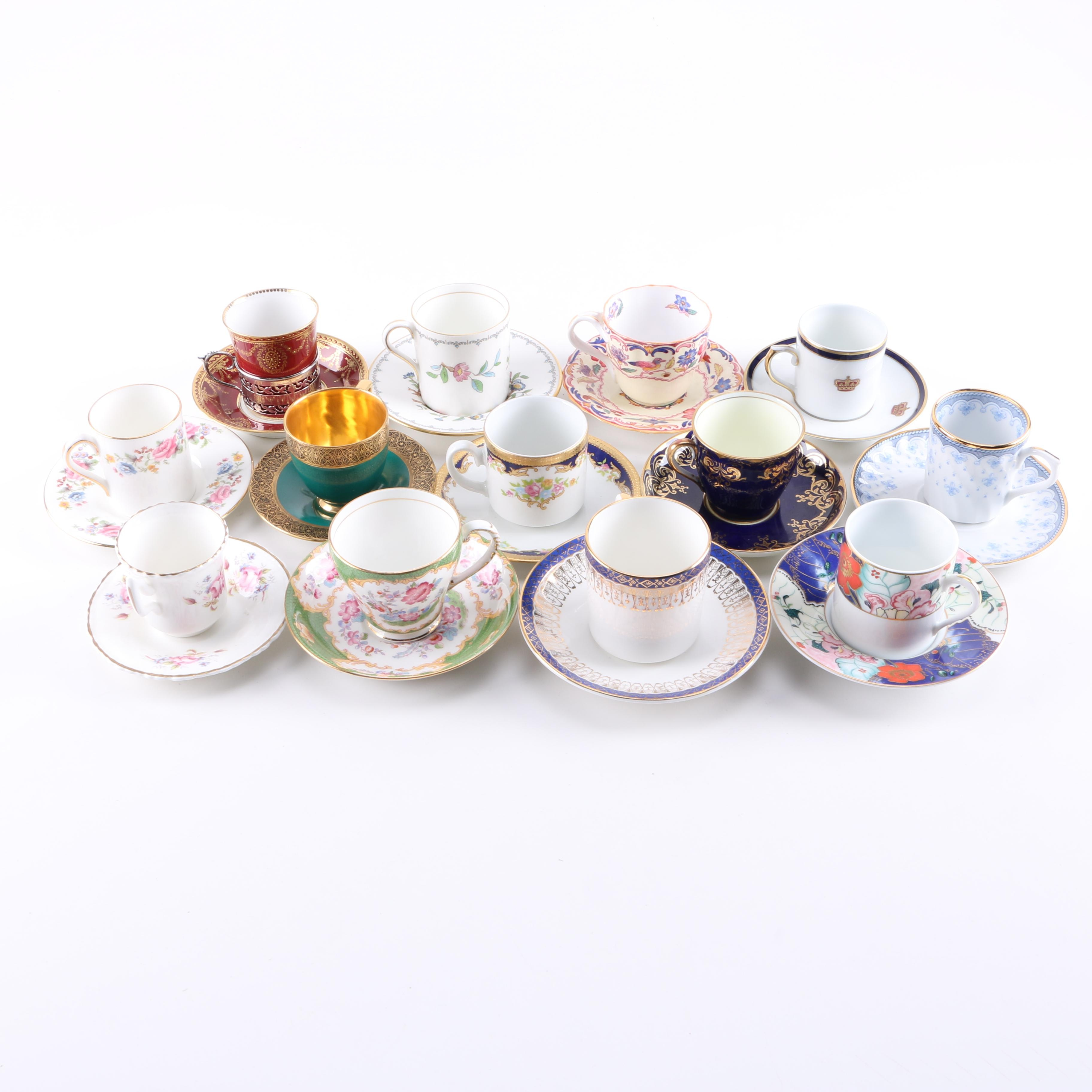 Demitasse Cups and Saucers Including Antique Paragon