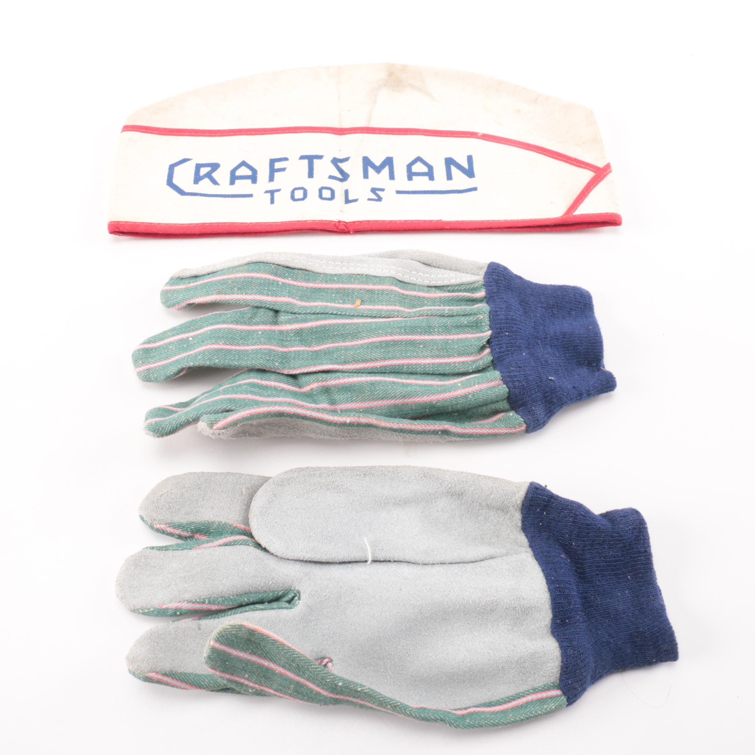 Pair of Work Gloves and Craftsman Tool Bag