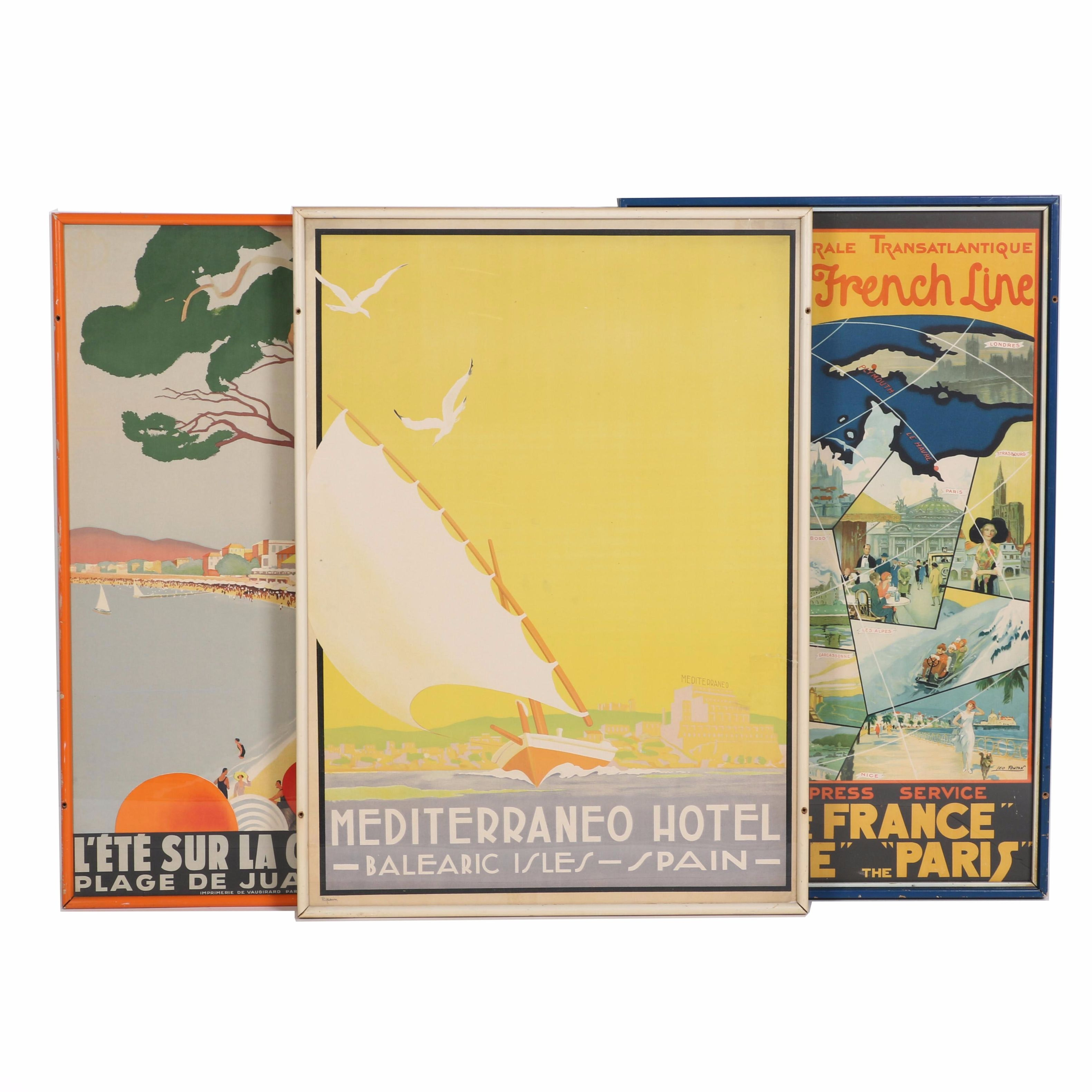 Lithographs of Art Deco Travel Advertisements
