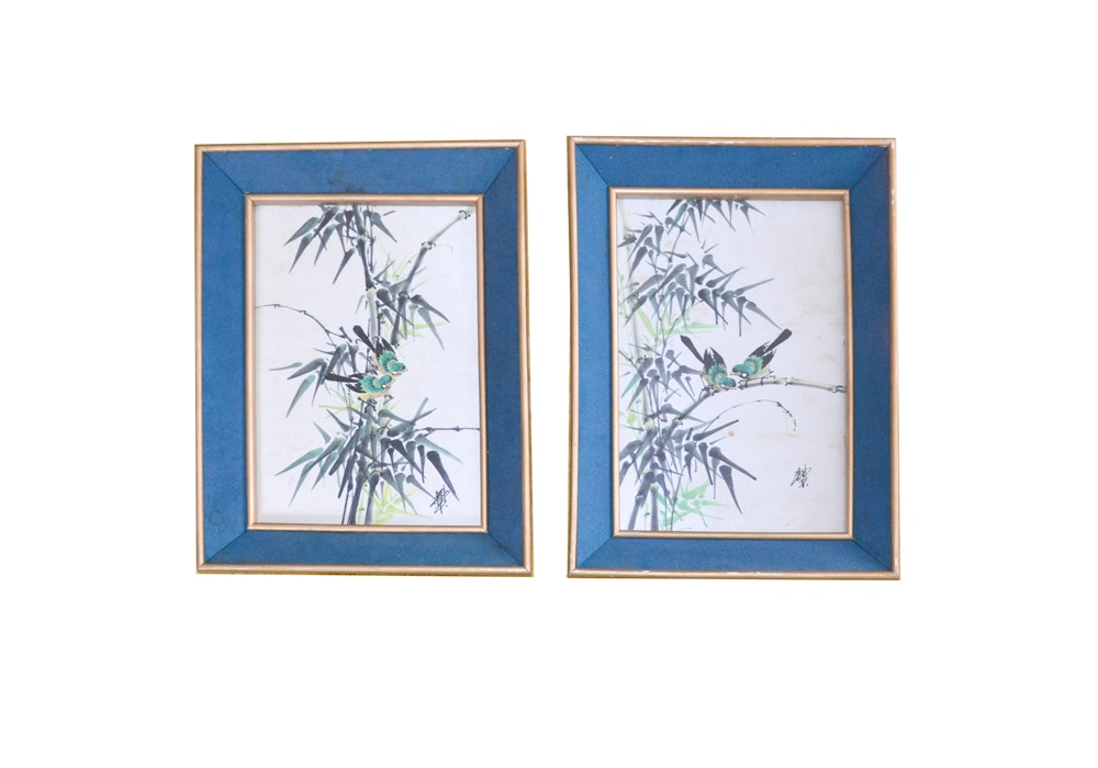 East Asian Watercolor Paintings on Silk of Birds and Bamboo