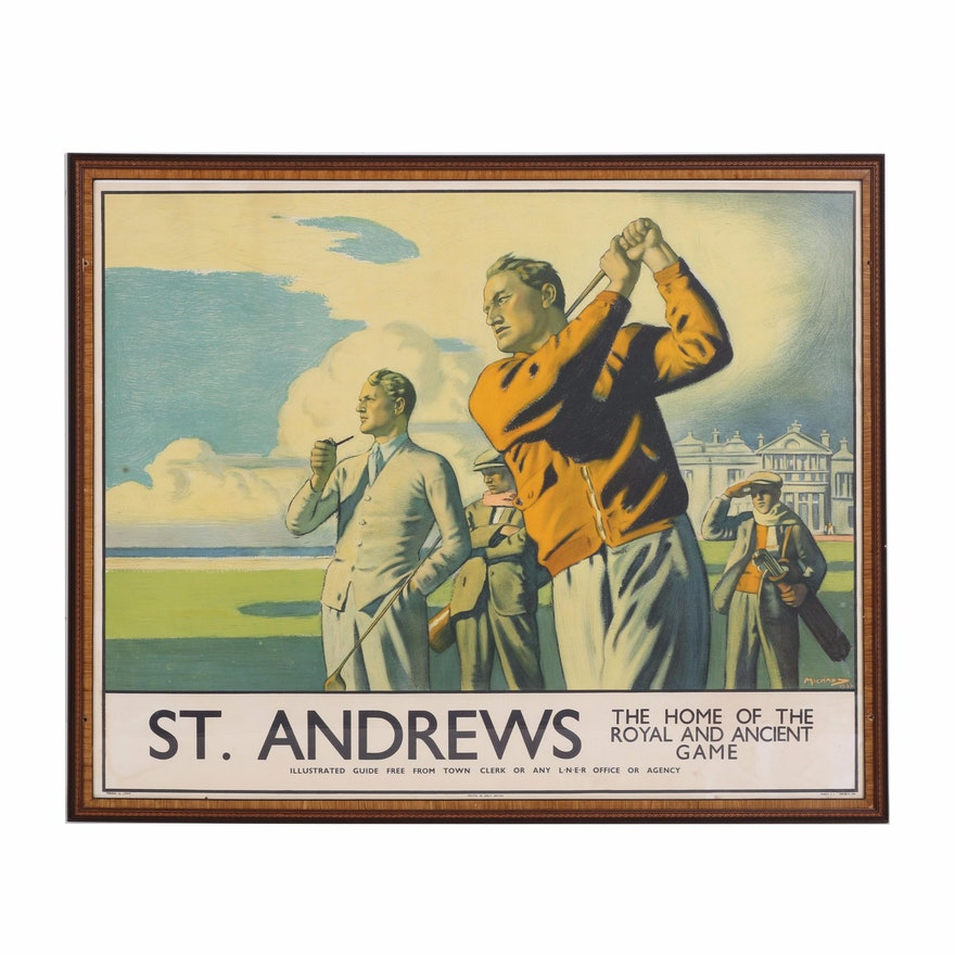 Arthur c michaels lithograph on paper of st andrews golf course malvernweather Image collections