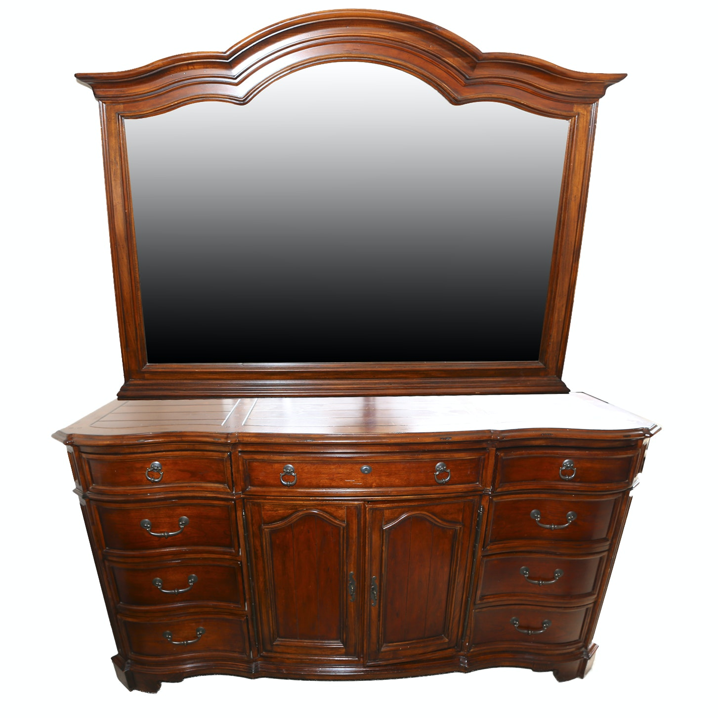 Contemporary Serpentine-Front Dresser With Mirror
