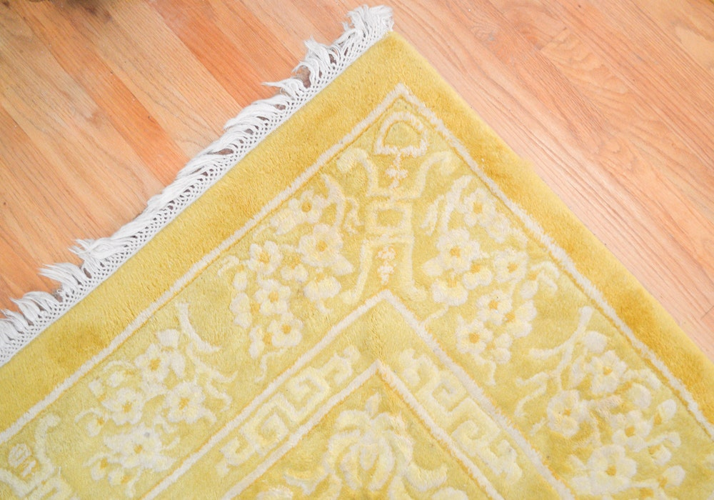 Vintage Hand-Knotted and Carved Chinese Area Rug