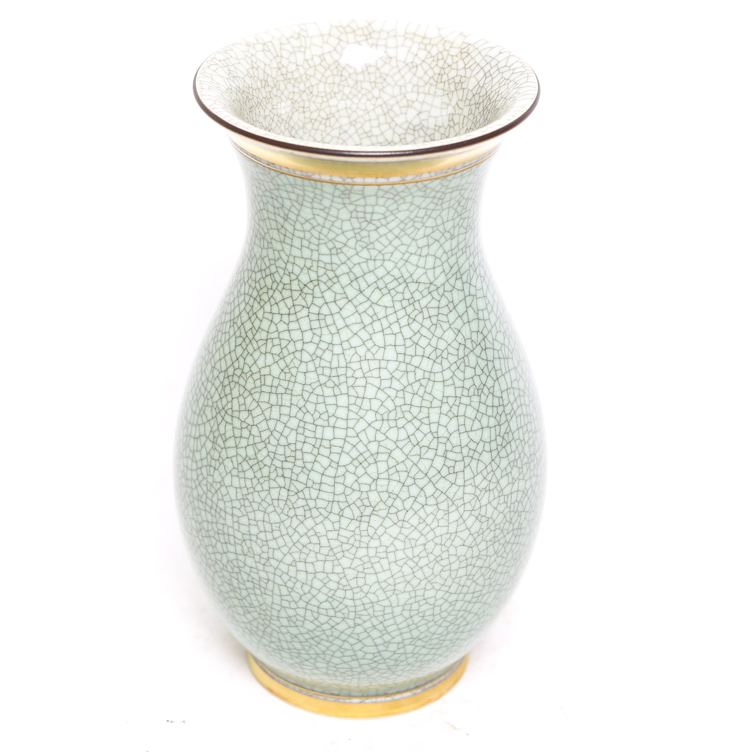 Mid Century Royal Copenhagen Green Crackle Glaze Vase