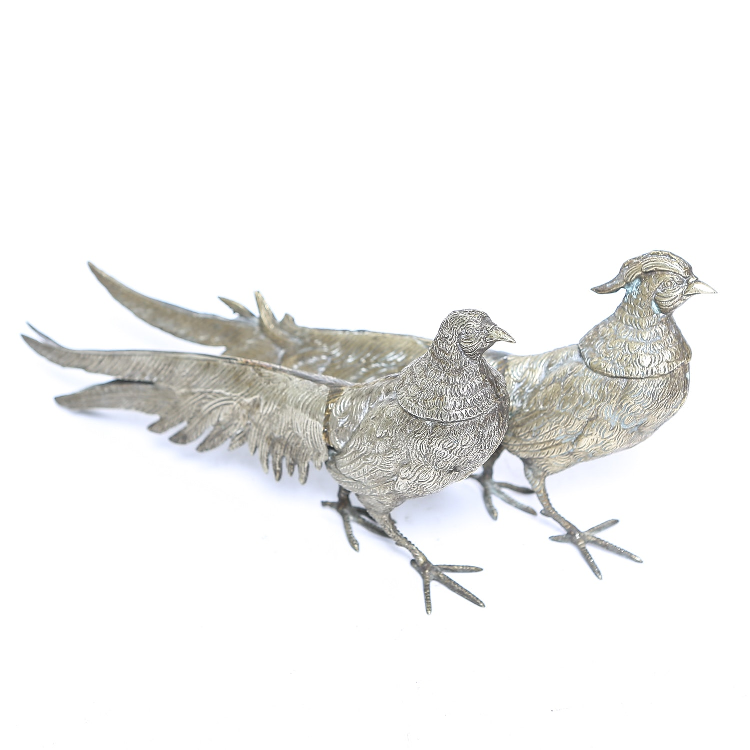 Pair of Vintage Brass Male and Female Pheasant Figurines