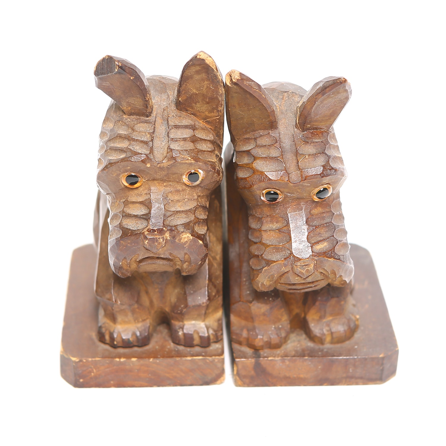 Hand Carved Wooden Schnauzer Bookends