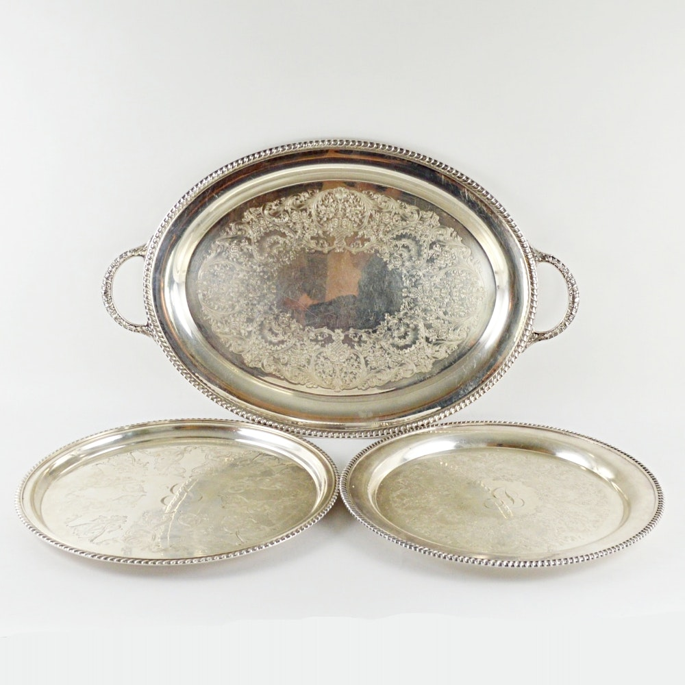 Assorted Plated Silver Trays
