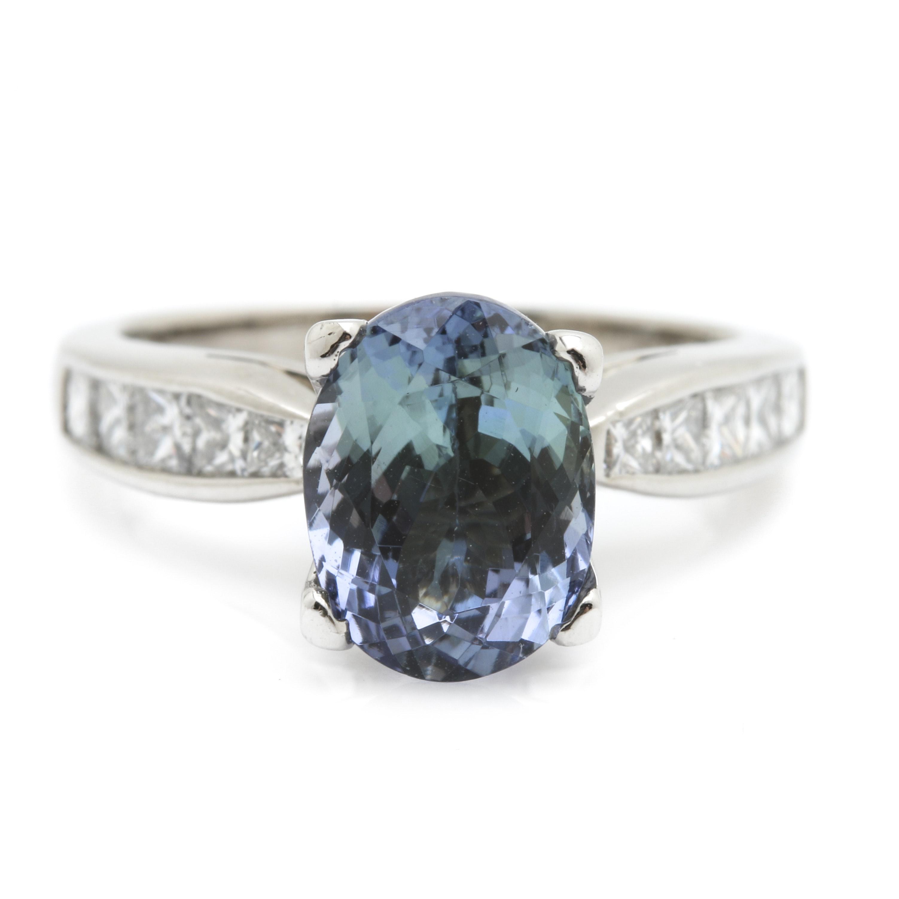 Scott Kay Platinum 2.15 CT Tanzanite and Diamond Ring