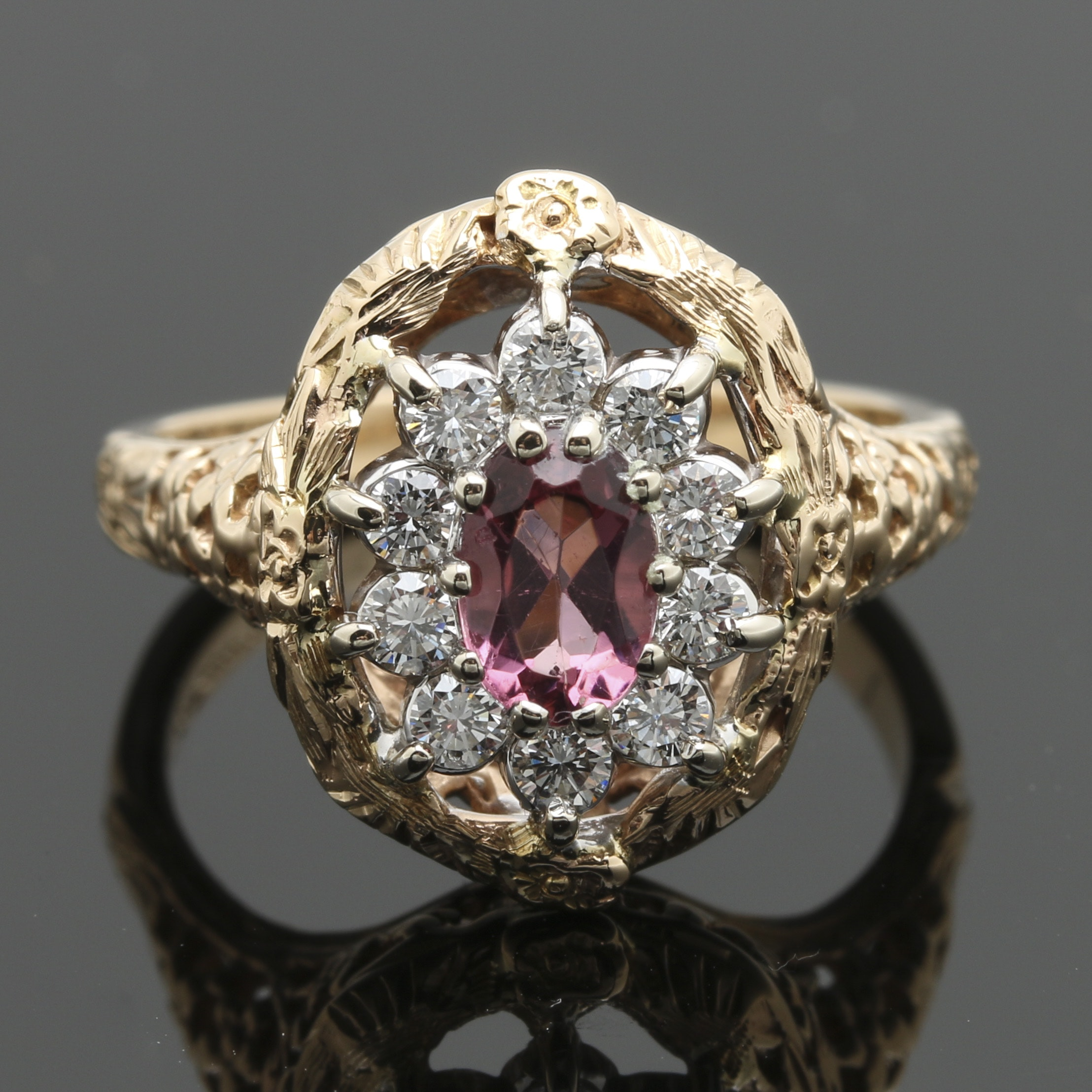 14K Yellow Gold Pink Tourmaline and Diamond Floral Ring