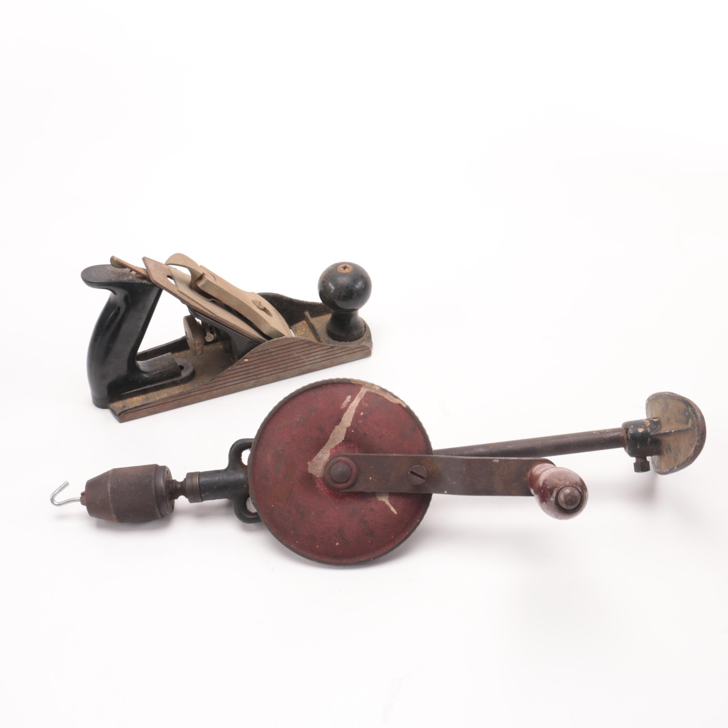 Vintage Craftsman Wood Plane and Hand Drill