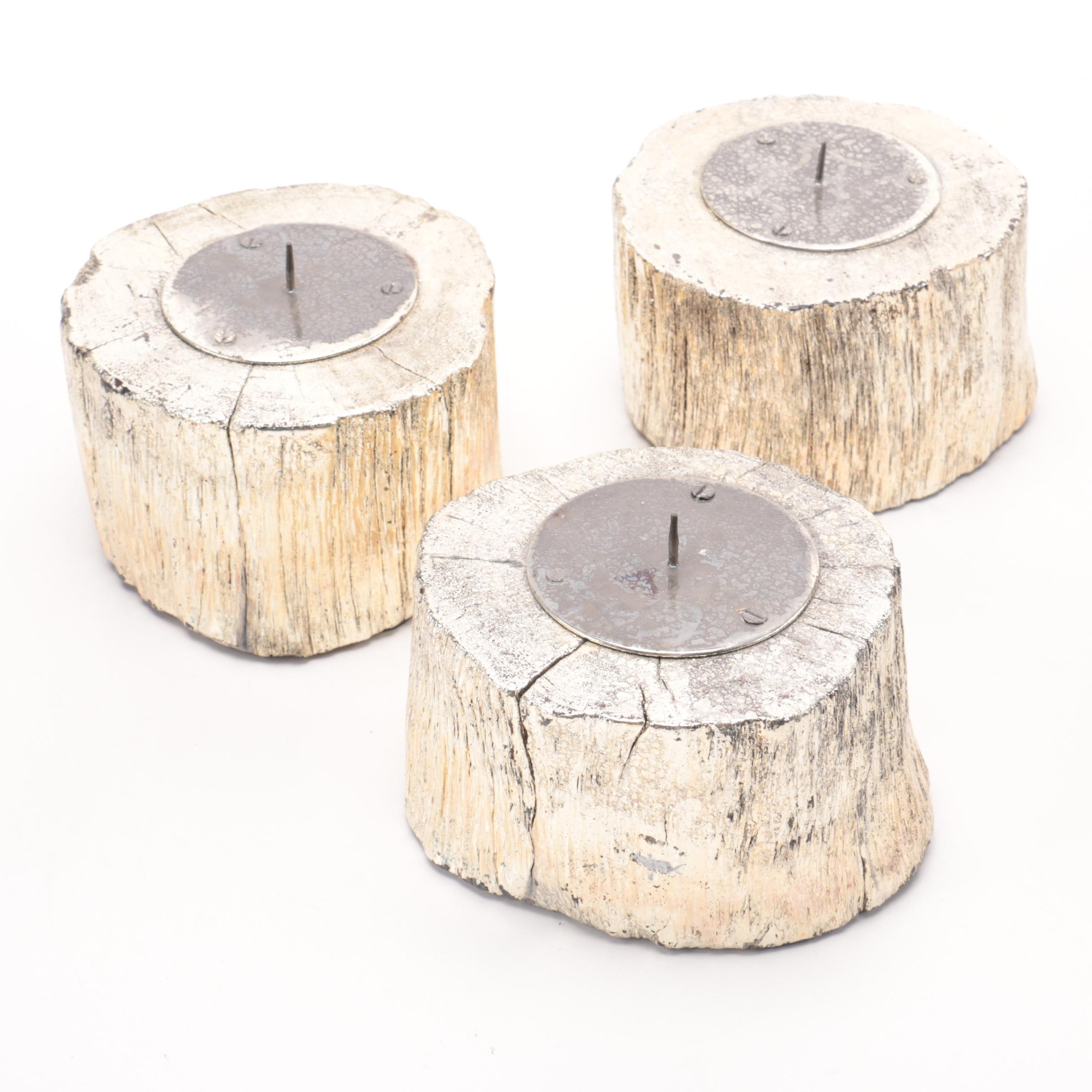Three White Pillar Candles with Gold Tone Wooden Stands