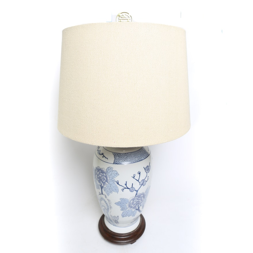 Hand Painted Blue And White Ceramic Lamp Ebth