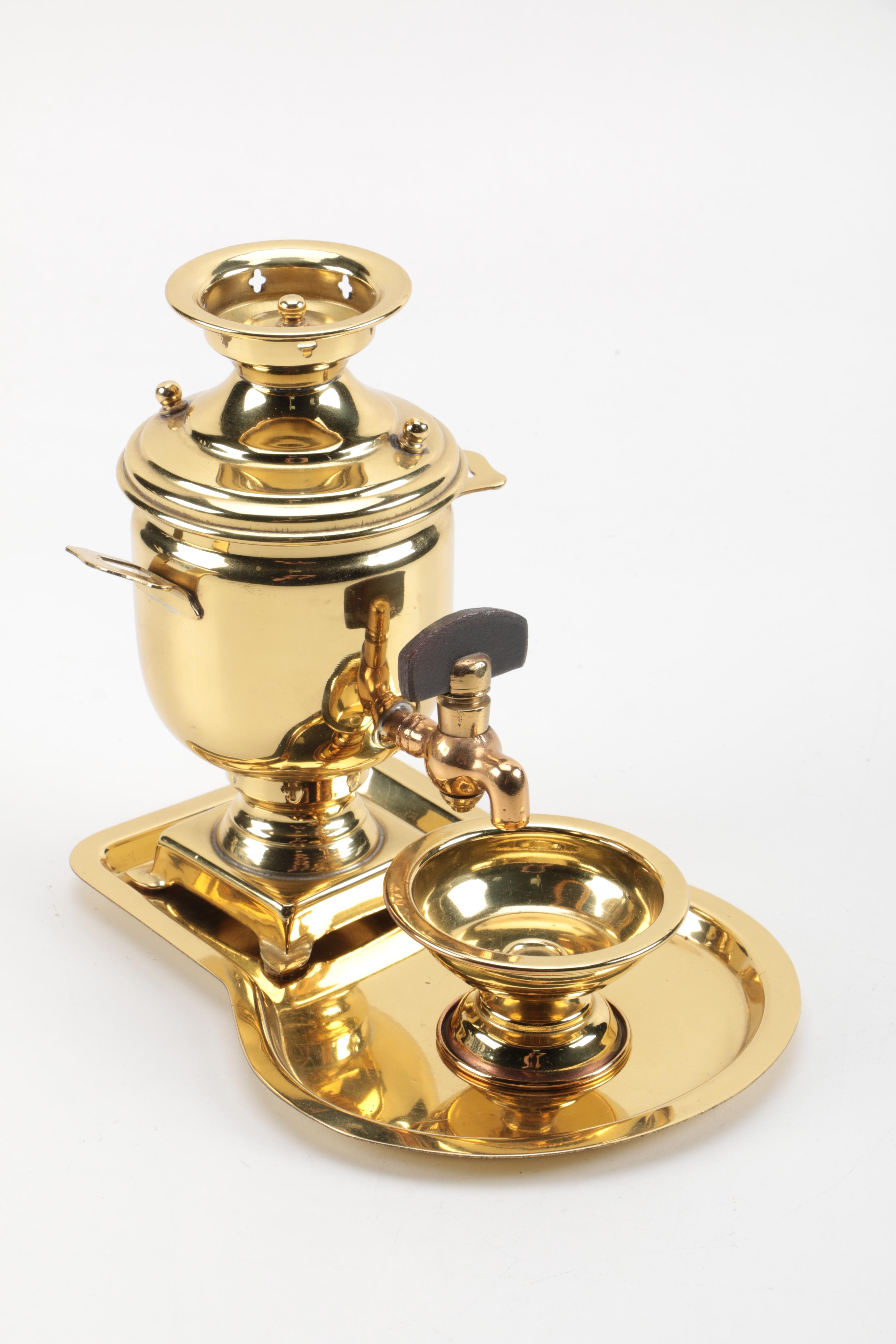 Brass Samovar With Tray and Footed Cup