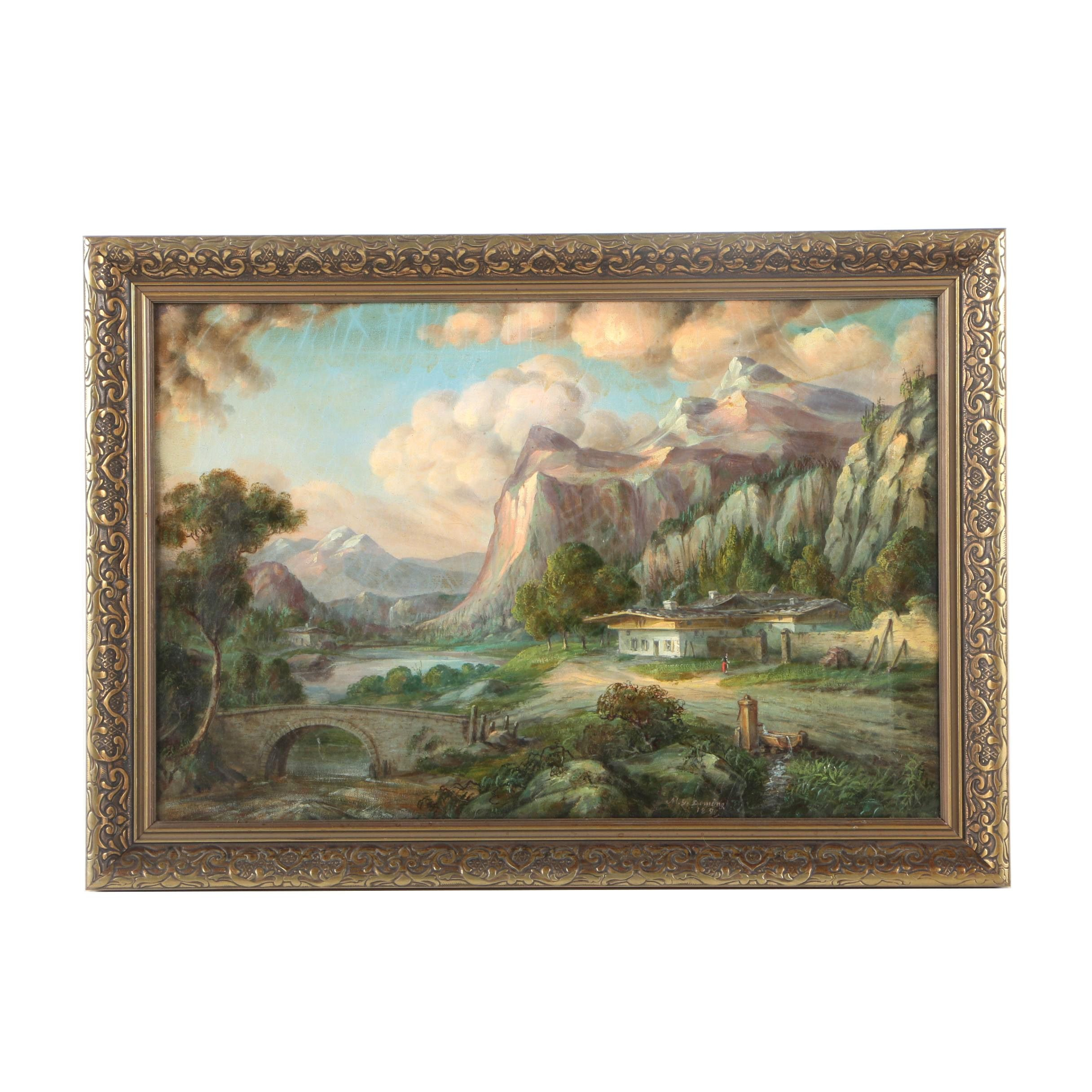 M. G. Deming Oil Painting on Canvas of a Mountain Scene