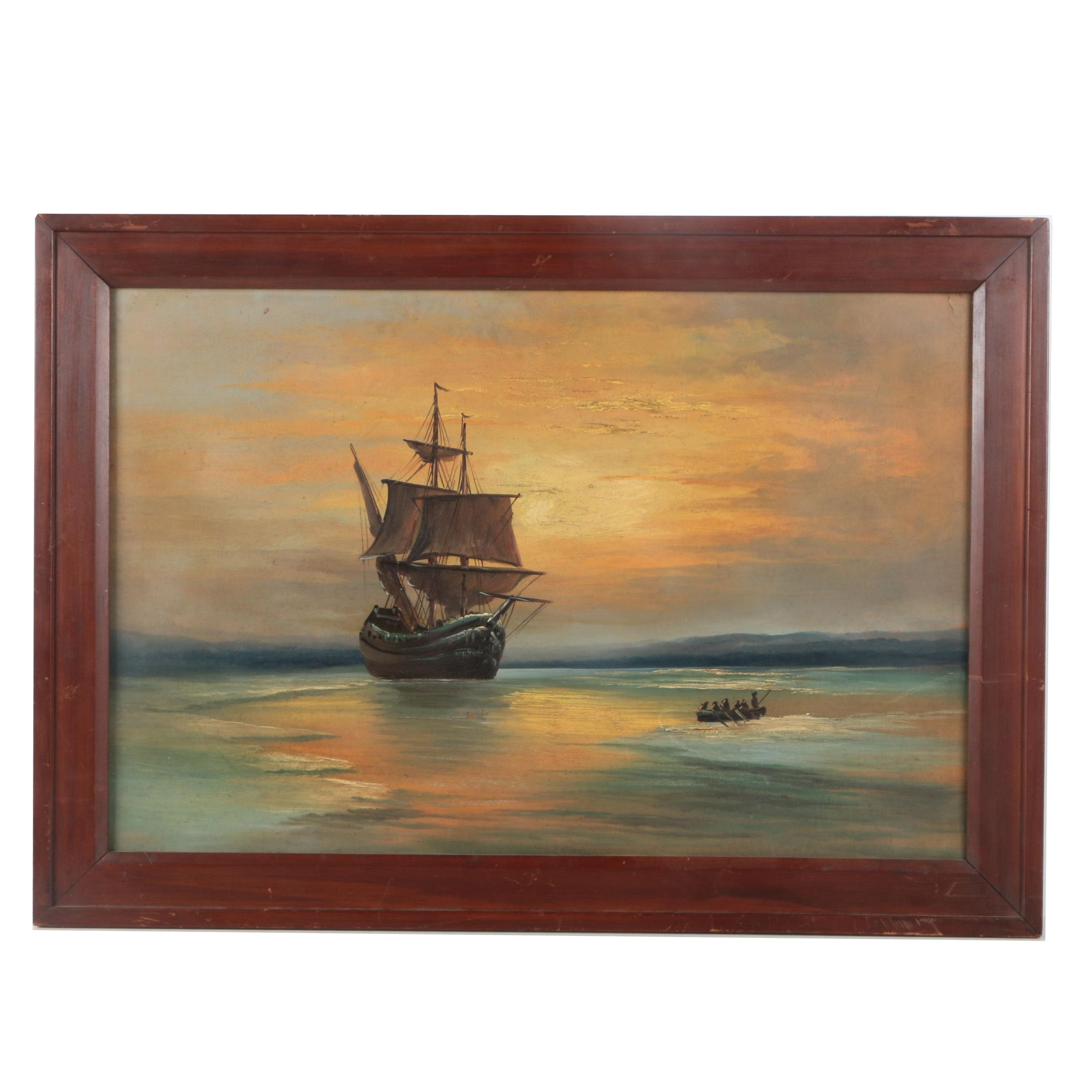 Oil Painting on Panel of a Ship at Sunset