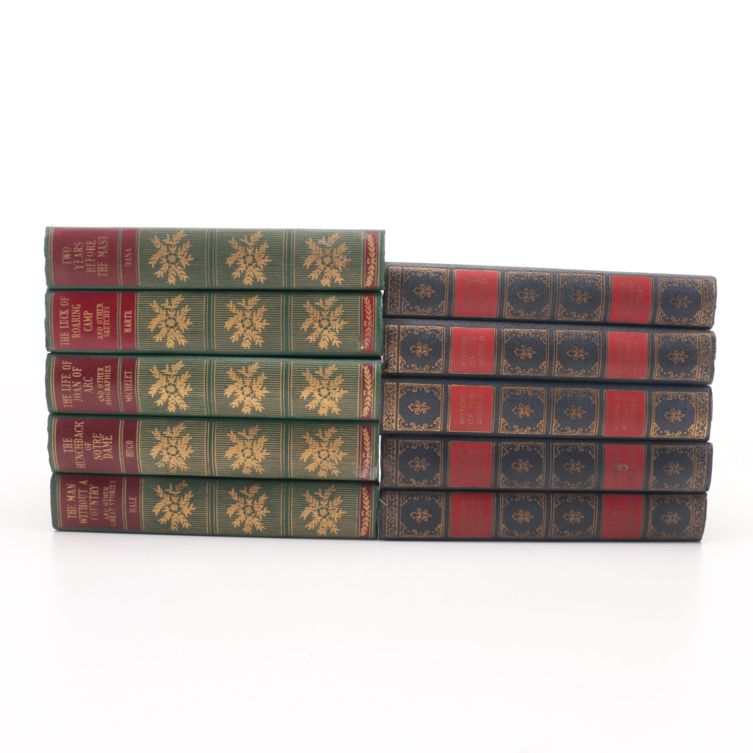 """1930s Books Including Five-Volume """"A History of the World"""" by Clement Wood and Victor Duruy"""