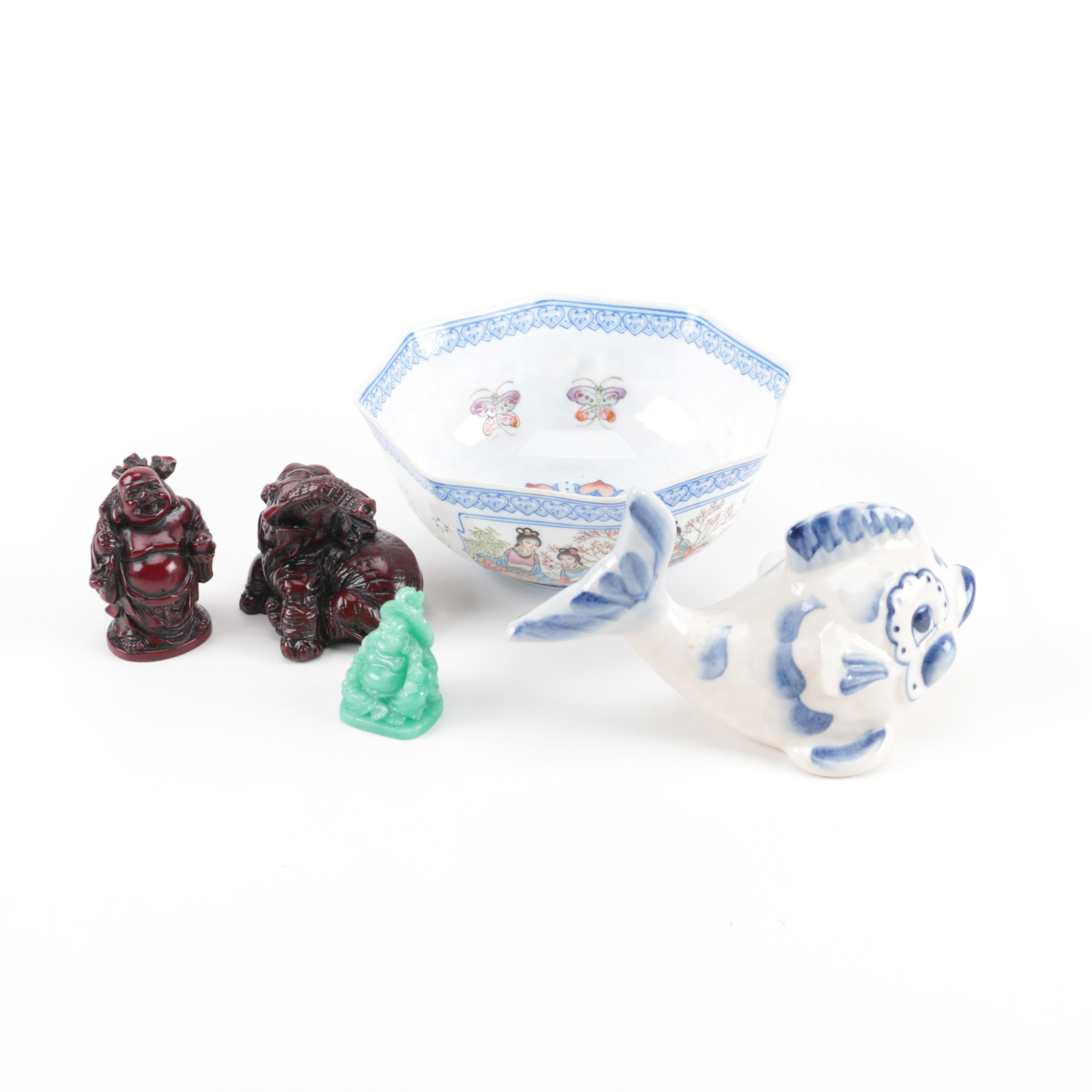 Assortment of East Asian Inspired Ceramic and Resin Figurines