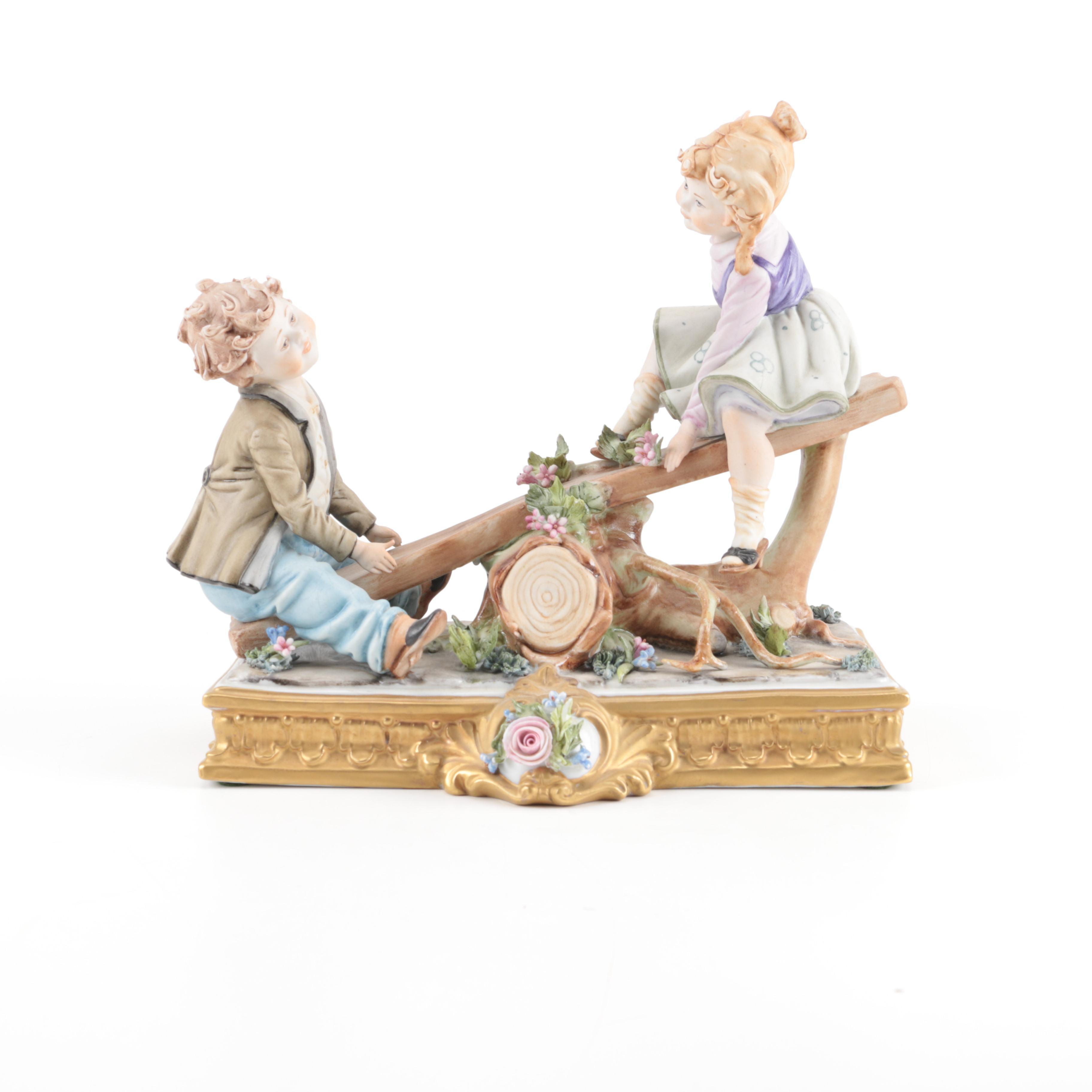 Viertasca Capodimonte Seesaw Porcelain Figurine