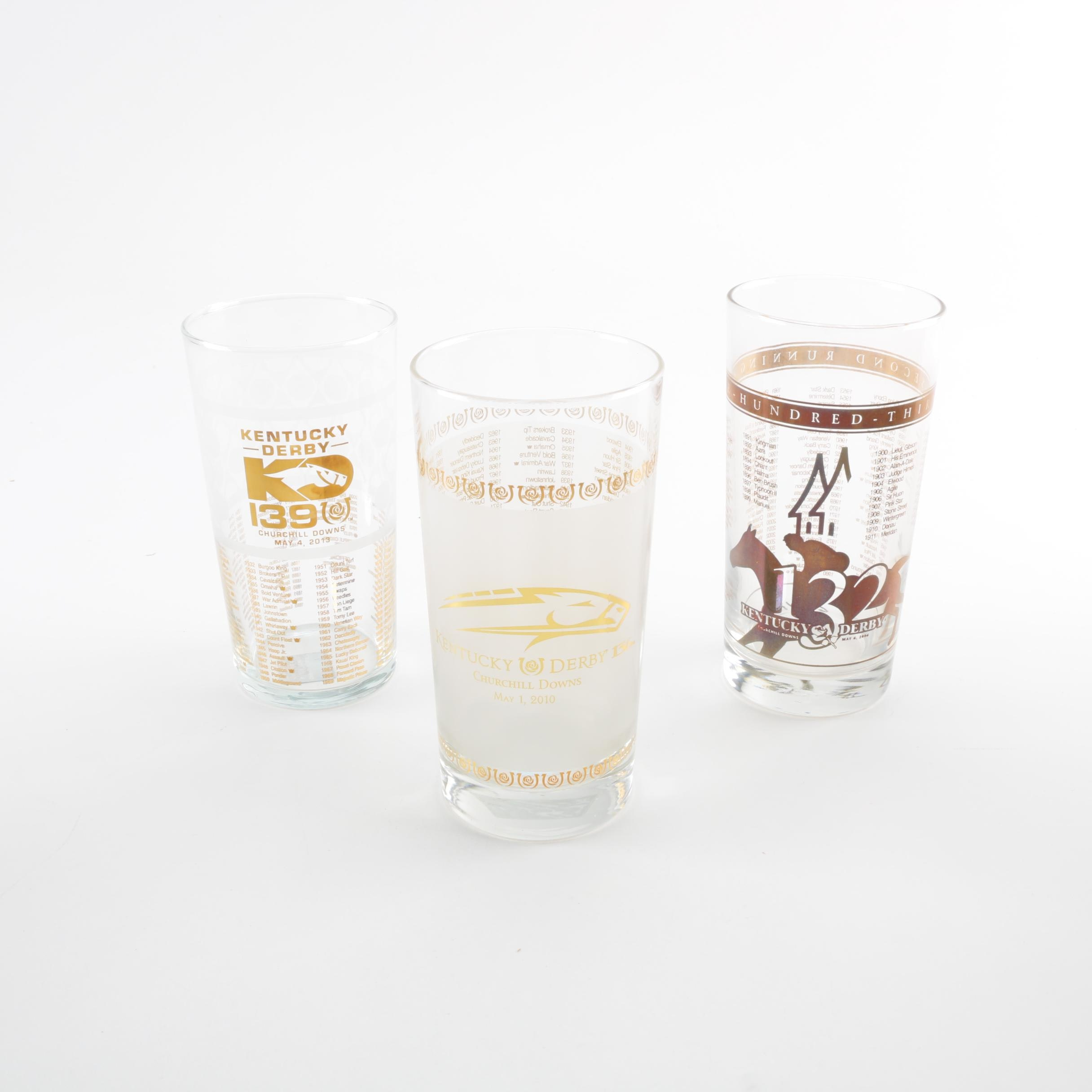 Three Limited Edition Commemorative Kentucky Derby Mint Julep Glasses