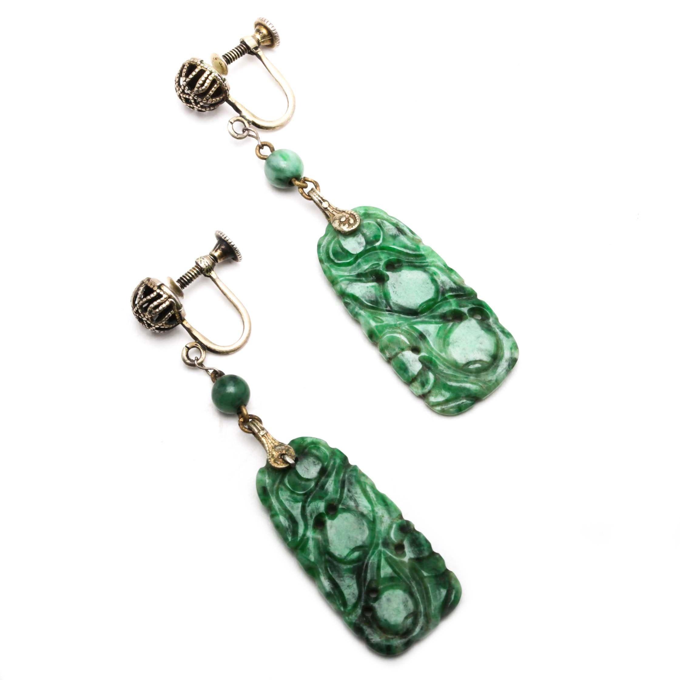 Vintage Carved Jadeite Earrings in Sterling Silver Mounts