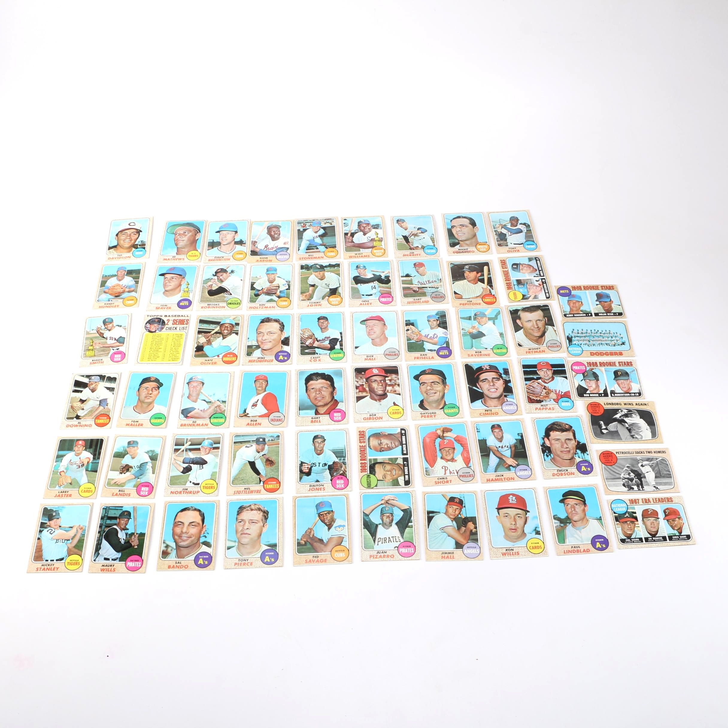 Collection of 1968 Topps Baseball Cards Including Nolan Ryan Rookie