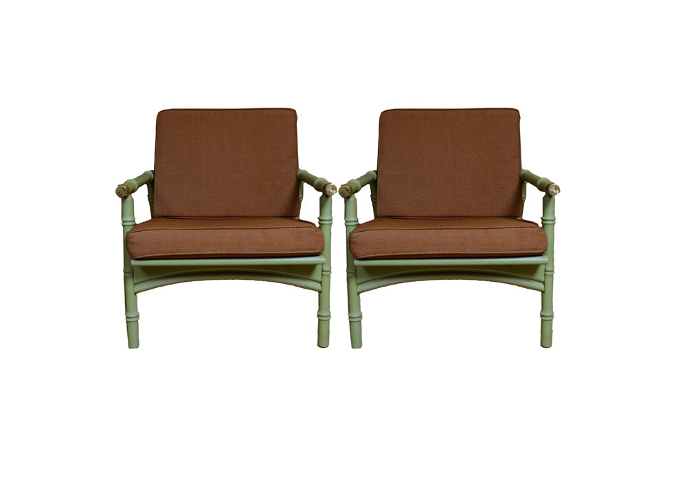 Mid-Century Bamboo Look Arm Chairs