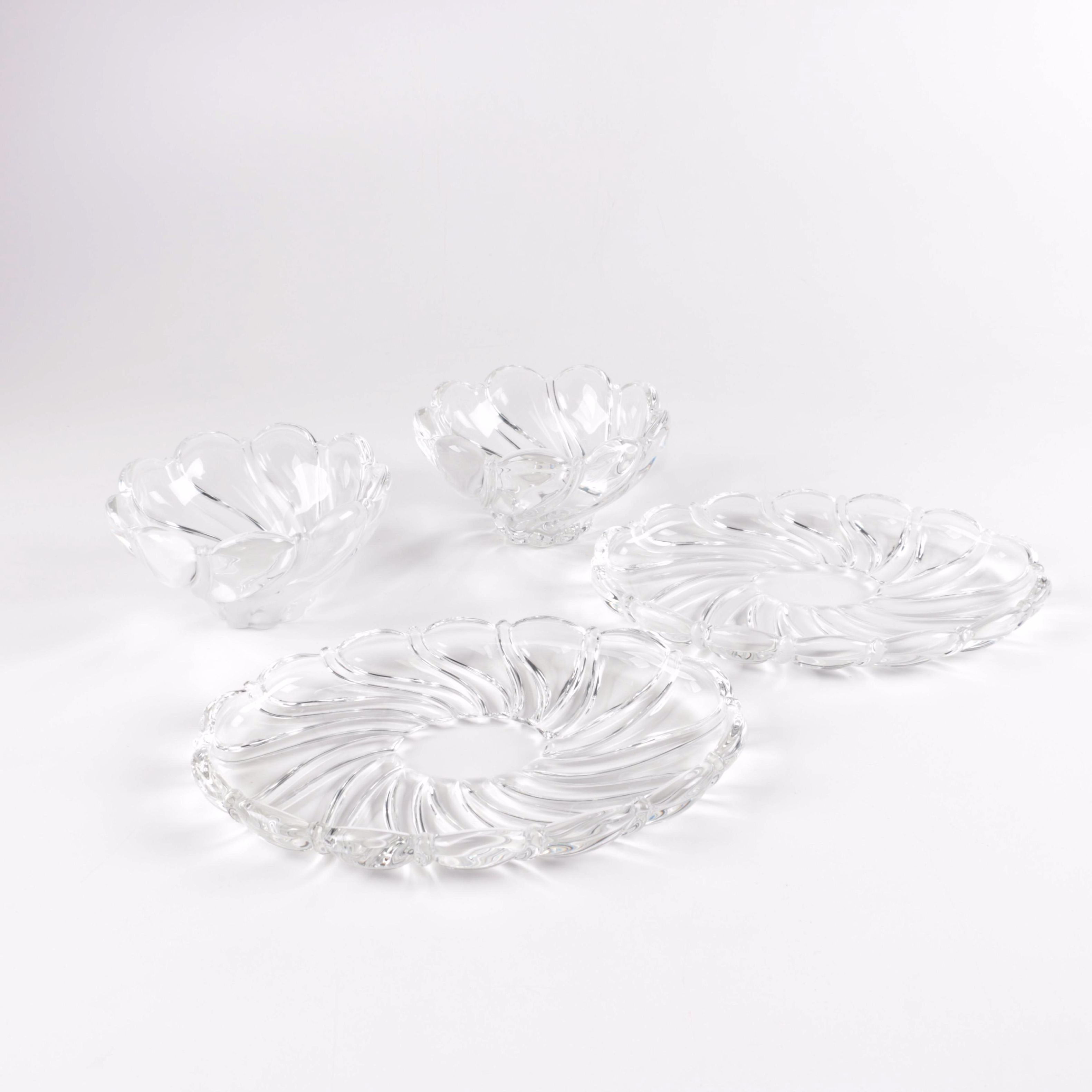 Pair of Small Crystal Bowls and Saucers