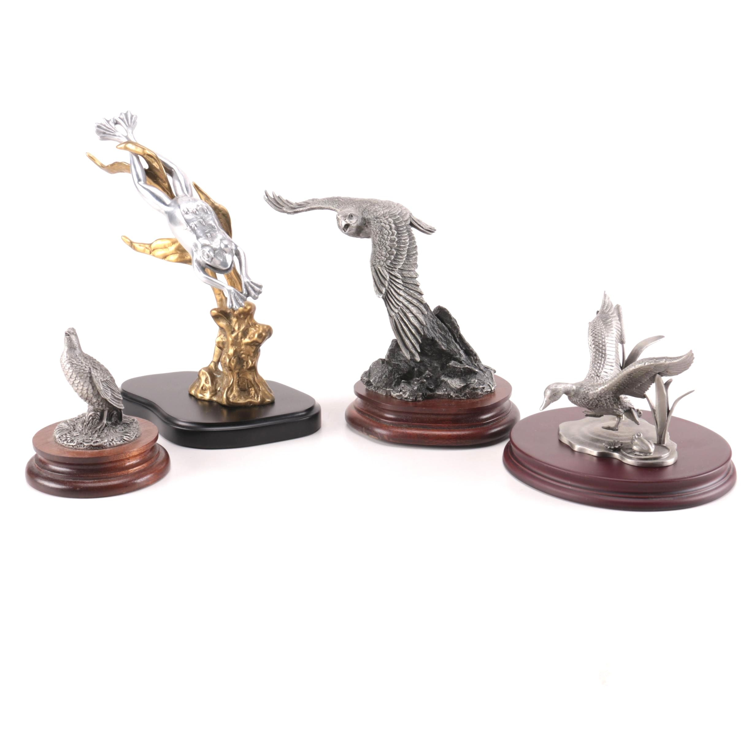Pewter Bird Figurines on Wooden Bases