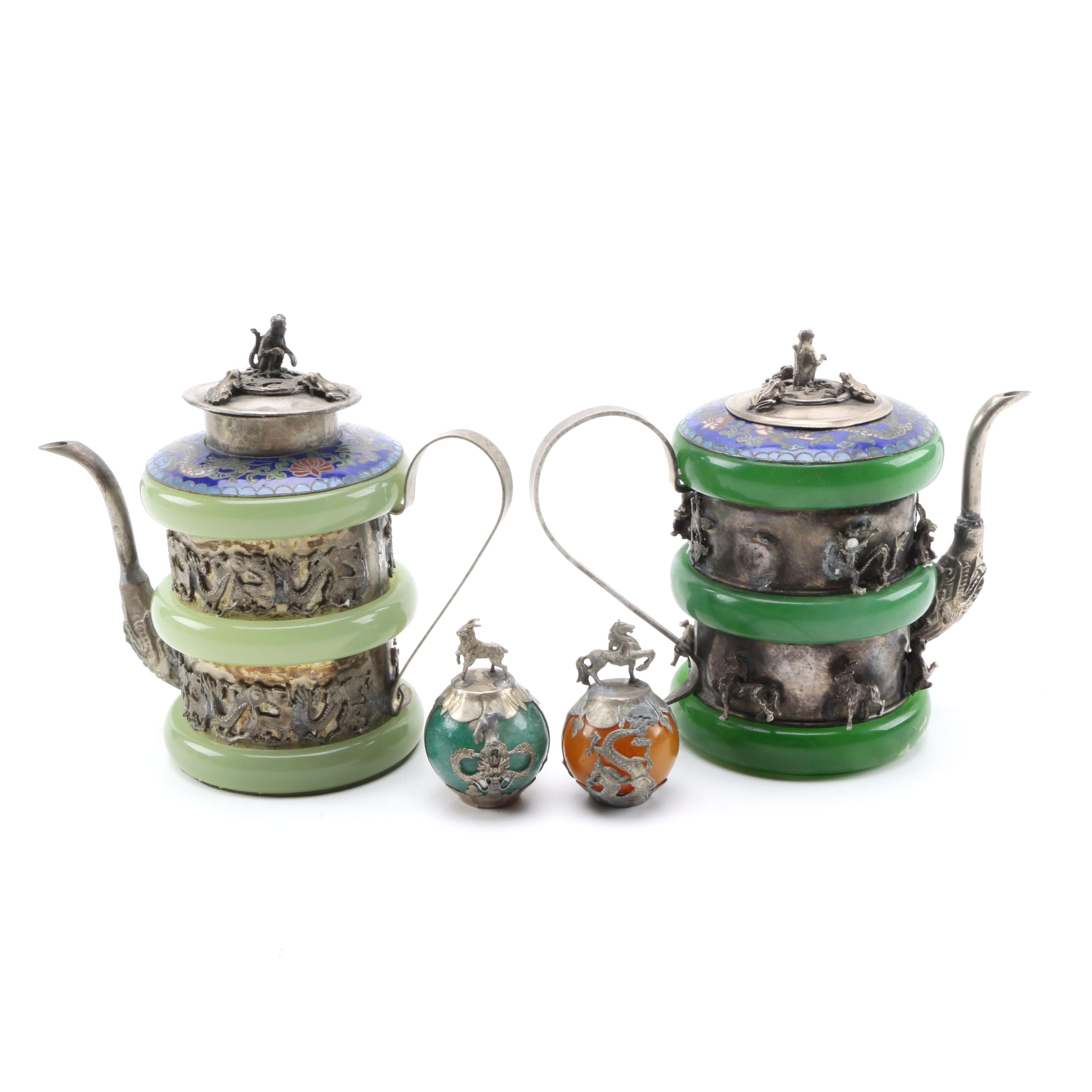 Tibetan Stone and Cloisonné Dragon Teapots and Mandarin Hat Finials