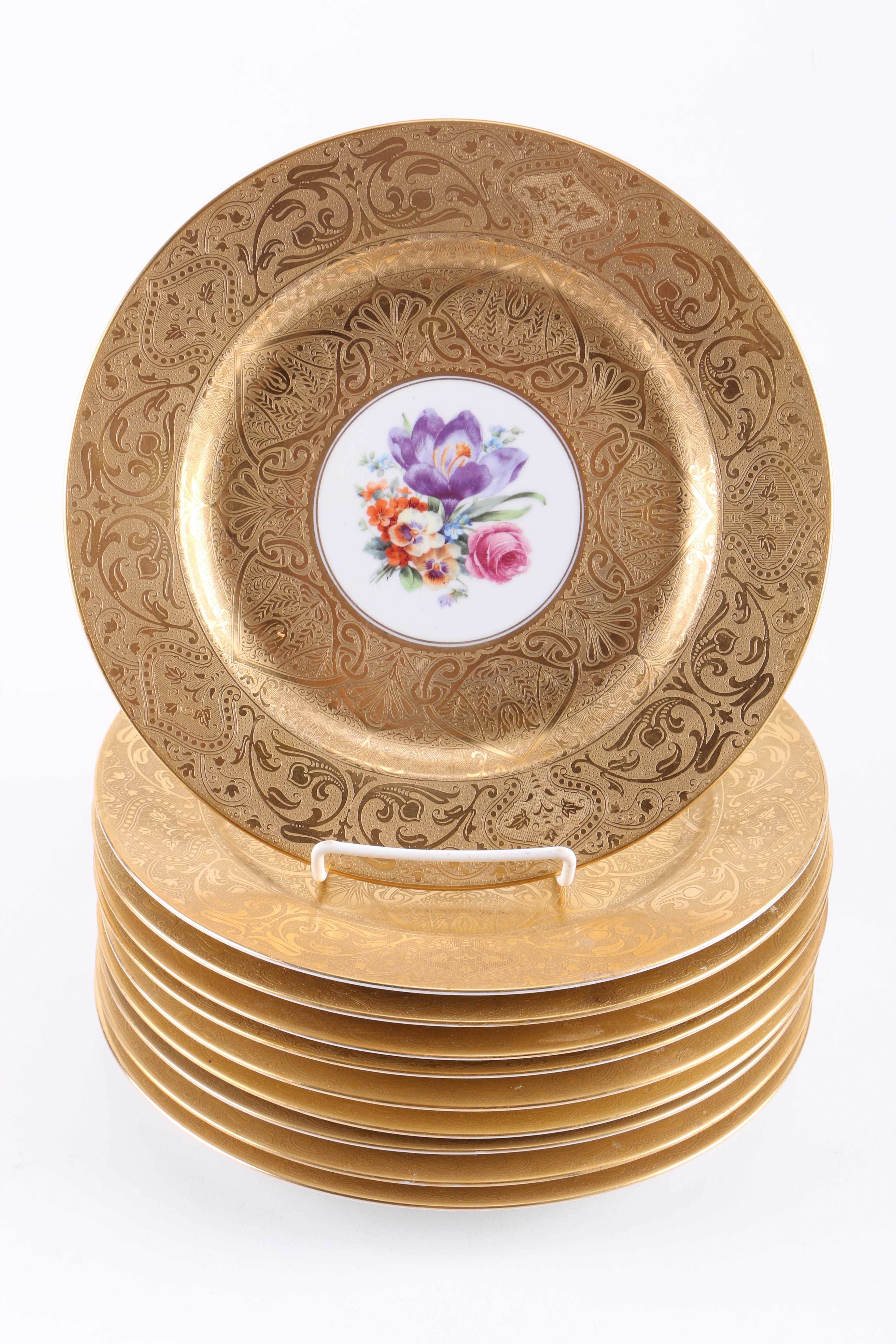 Royal Bavarian Hutschenreuther and Czechoslovakian Floral Plates With Embossed Gilding