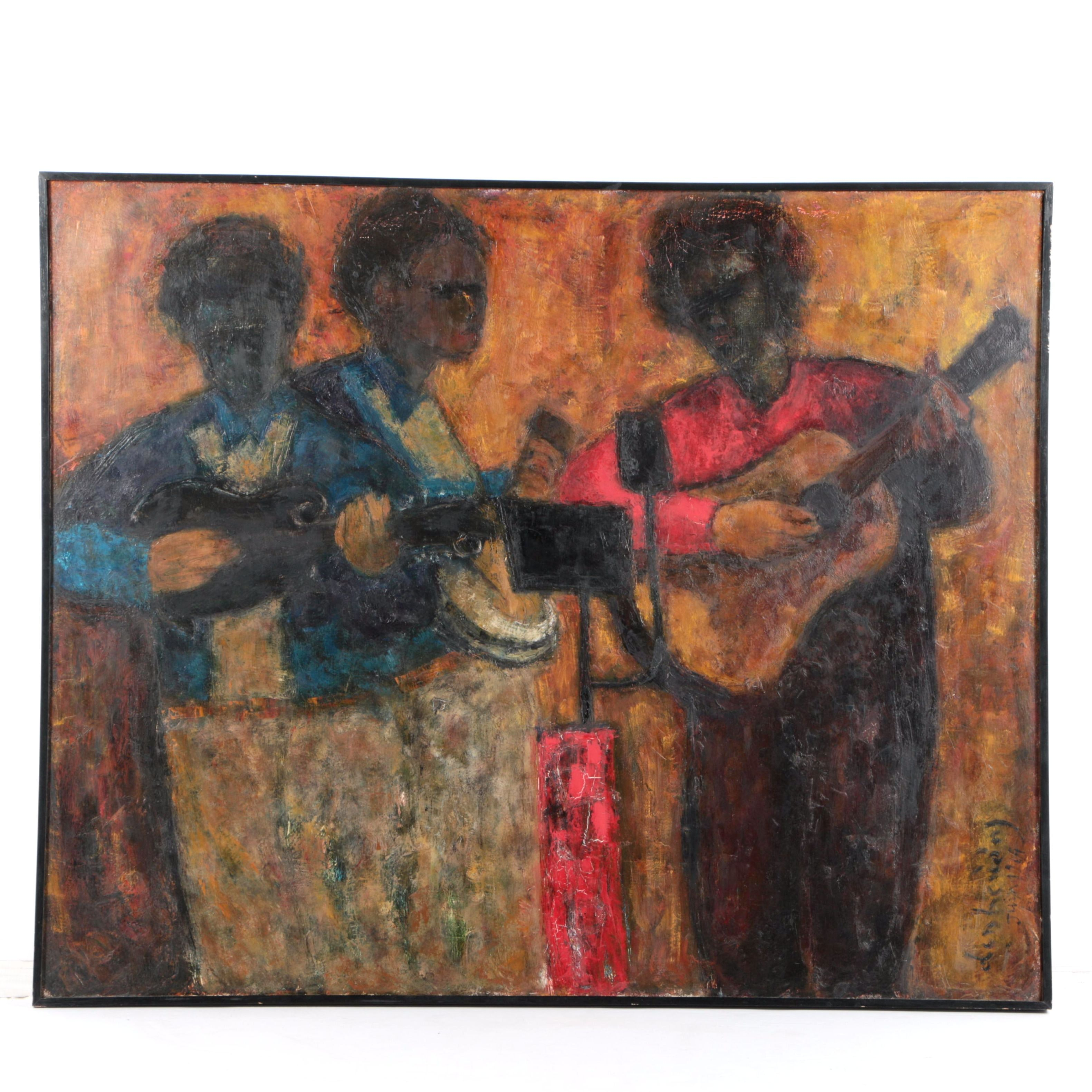 1964 French Acrylic Painting on Canvas of Musicians Performing