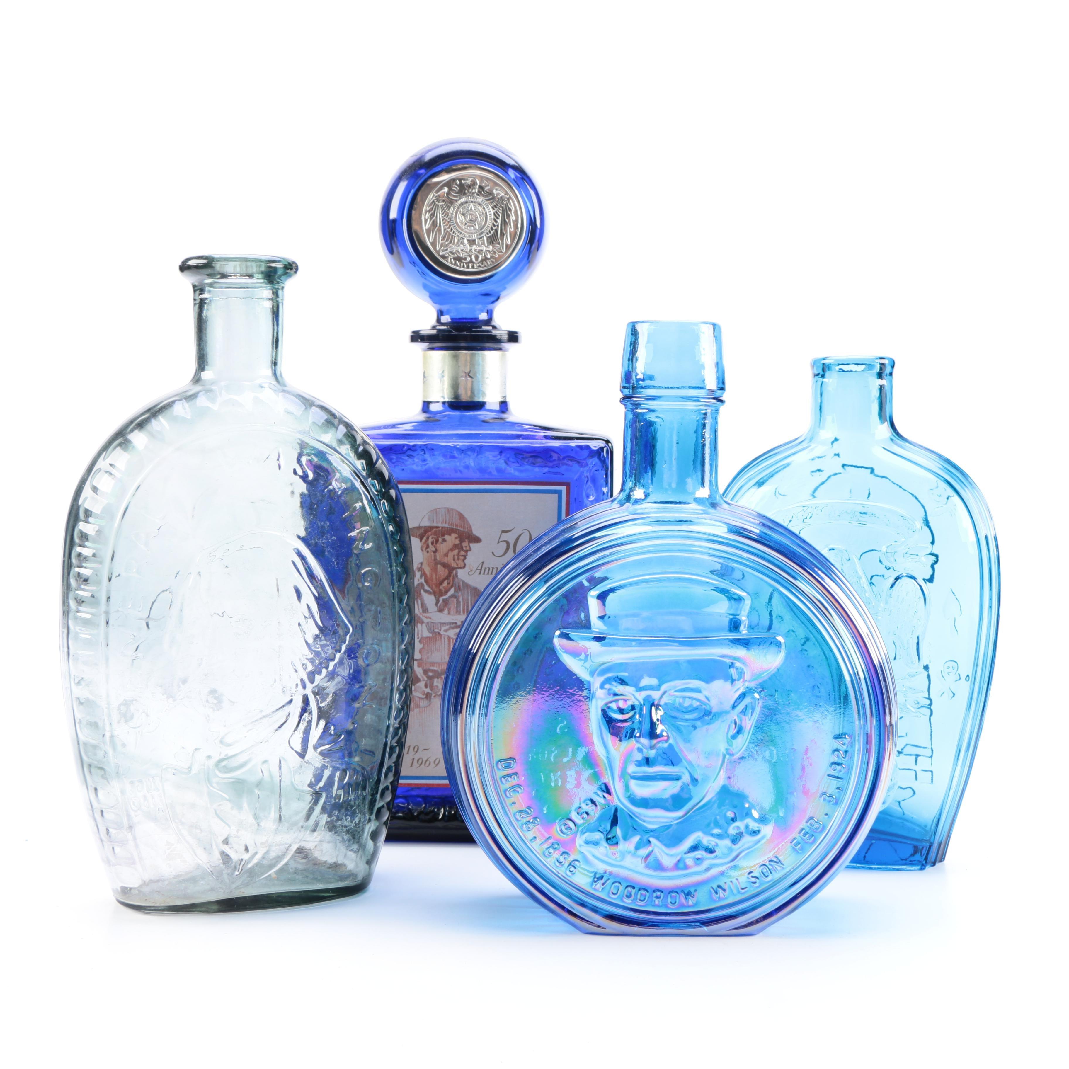 Blue Glass Liquor Bottles and Decanters