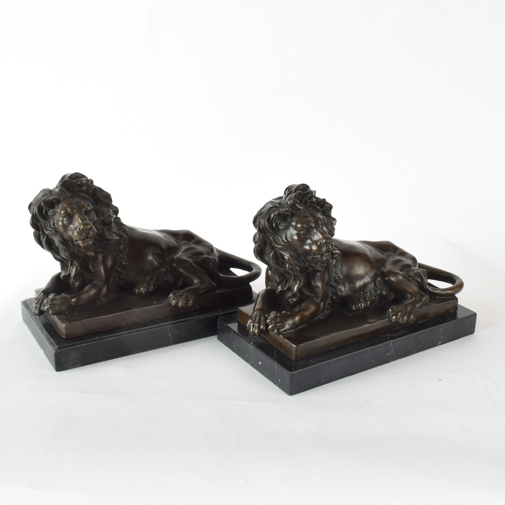 Barye Bronze Lion Bookends