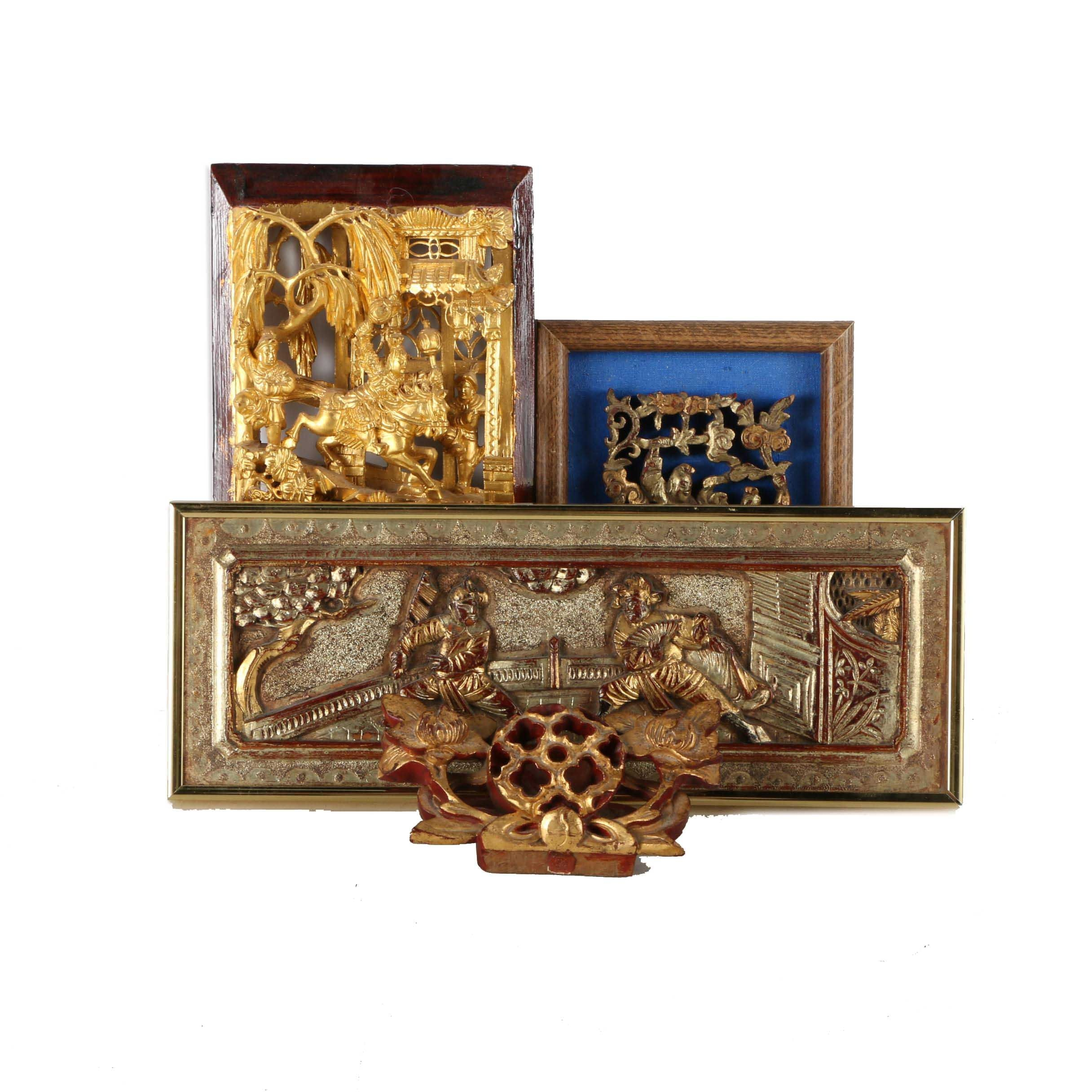 Hand Carved Chinese Dioramas and Wall Relief
