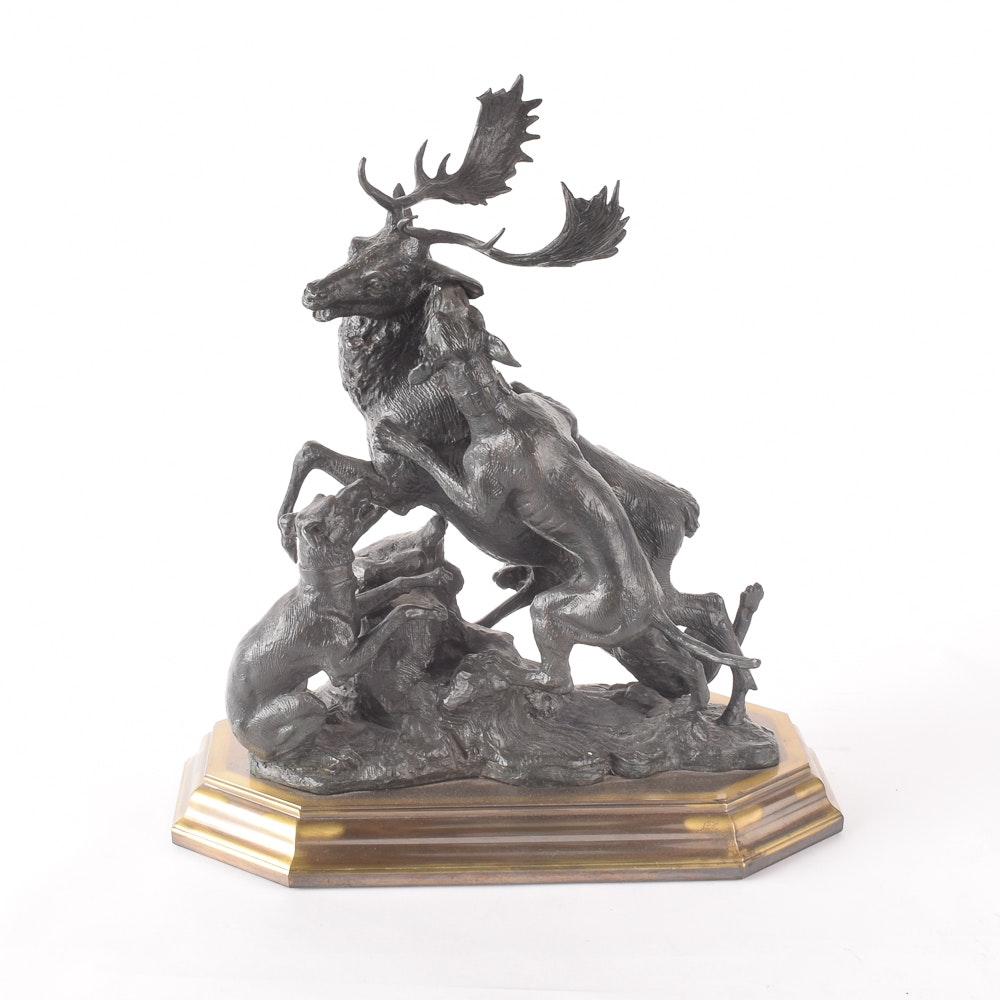Bronze Sculpture of Dogs Tackling an Elk After R. Muran