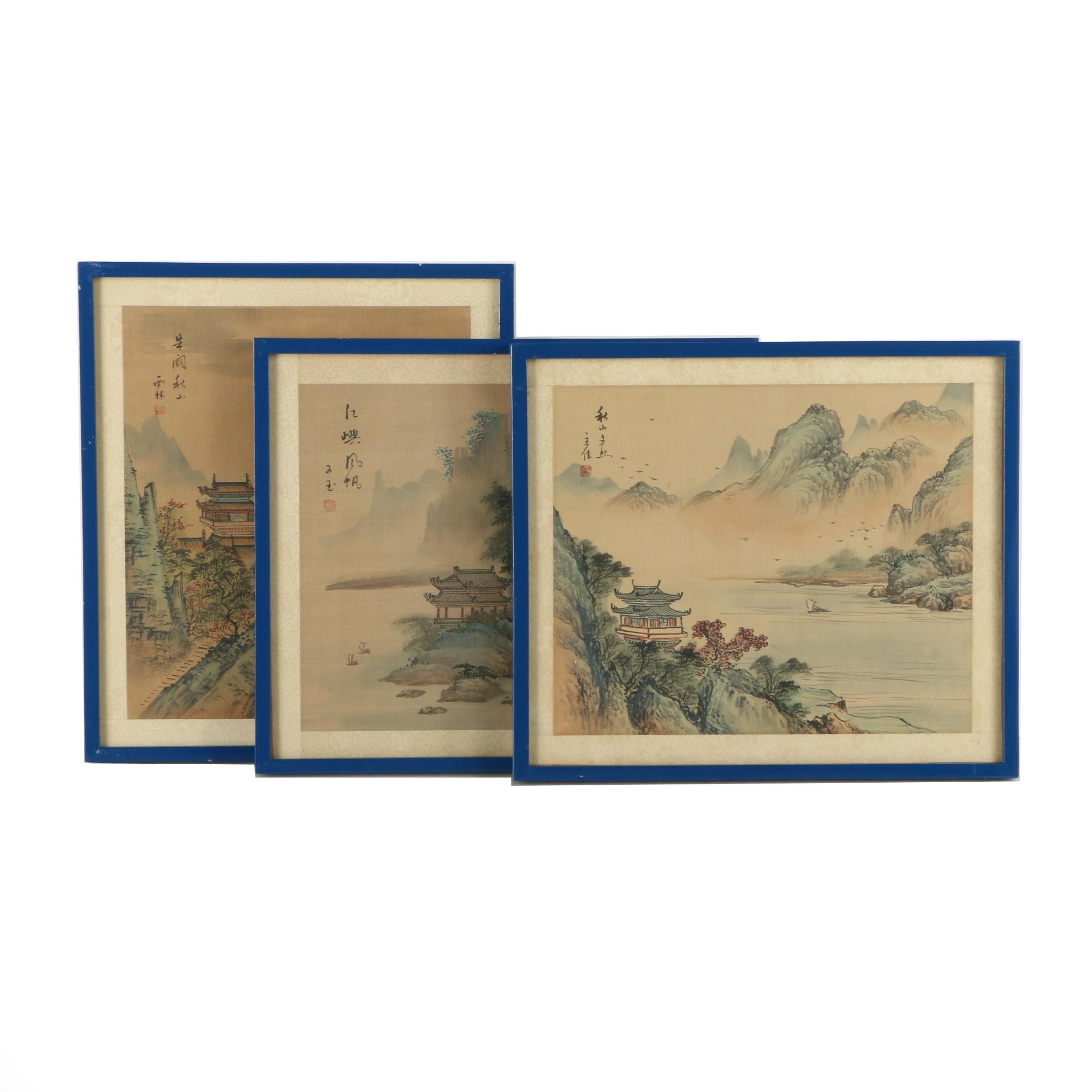 Three Chinese Watercolor Paintings on Silk of Mountain Landscapes