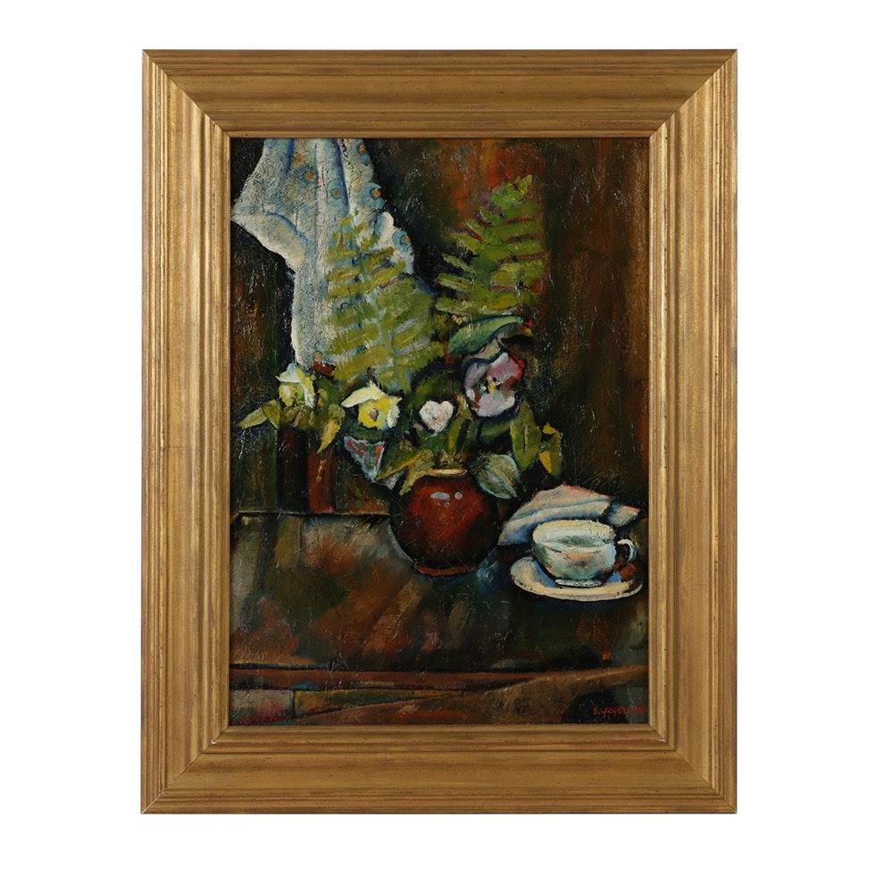 "Edgar Yaeger Oil Painting on Canvas ""Still Life on Floral Print Cloth"""