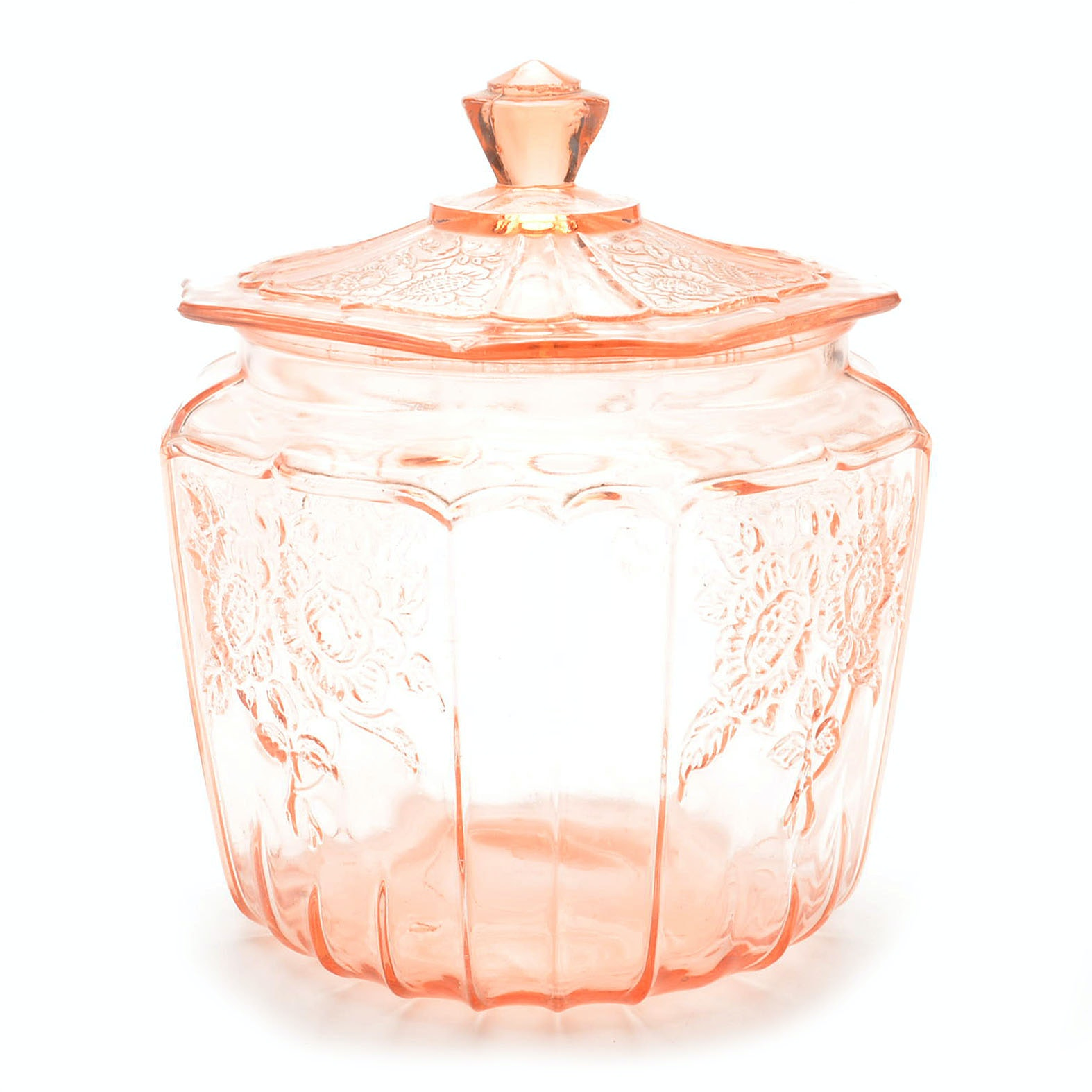 "Pink Depression Glass ""Mayflower"" Cracker Jar"
