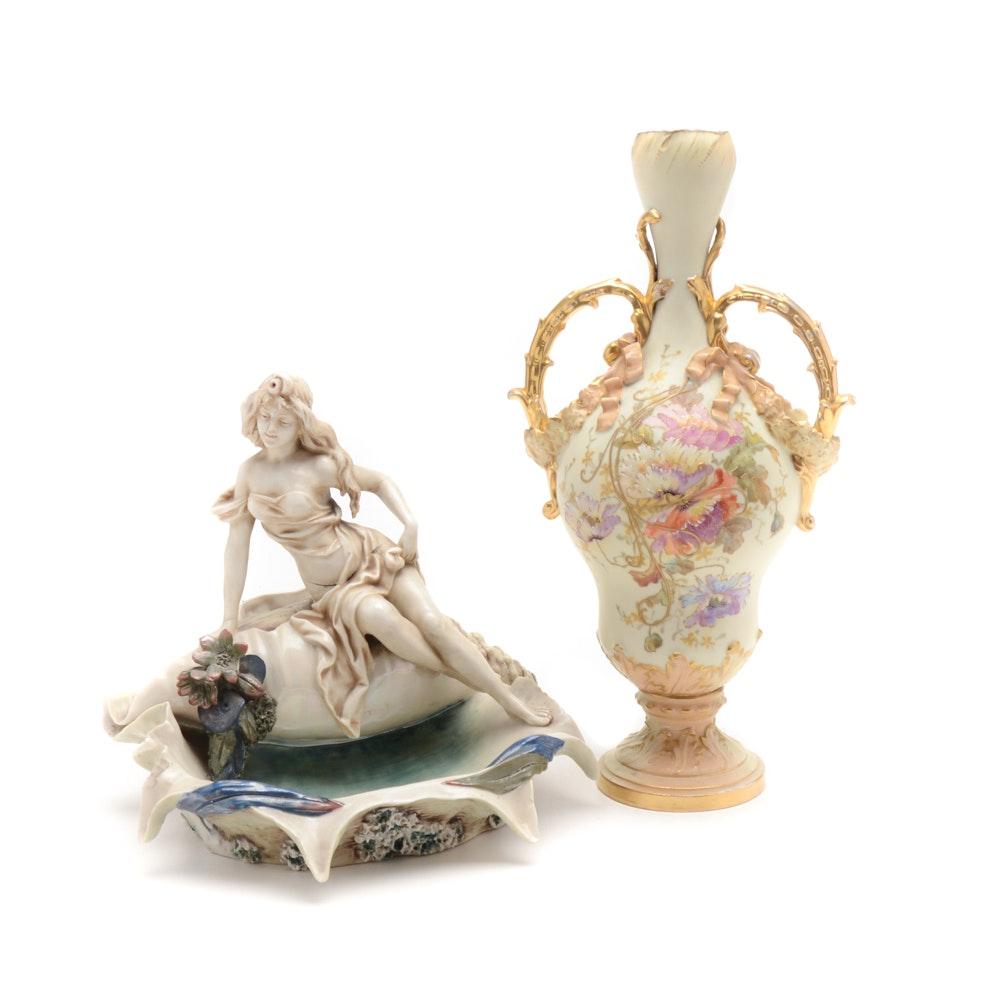 Two Art Nouveau Porcelain Pieces