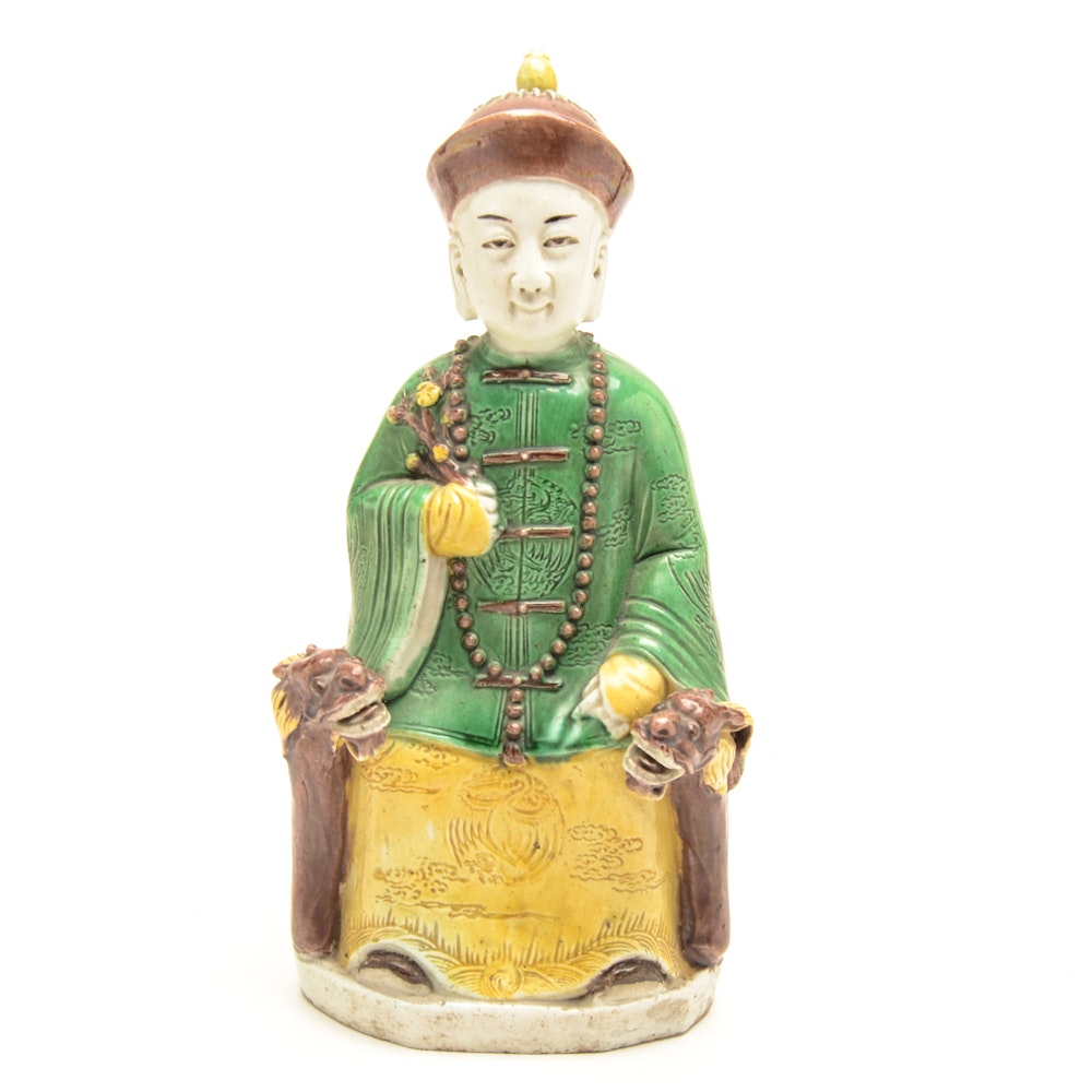 Chinese Porcelain Figurine of Seated Man