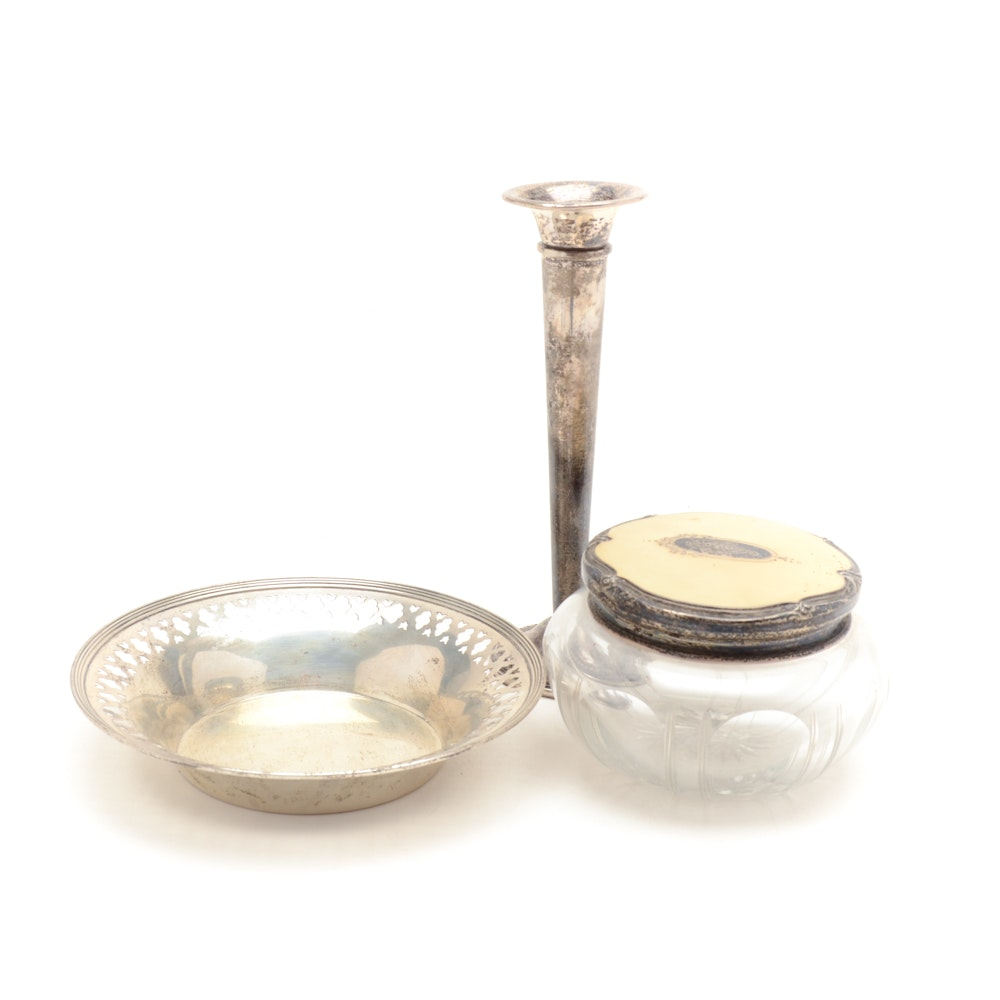 Sterling Silver Bowl, Crystal Powder Jar and Bud Vase